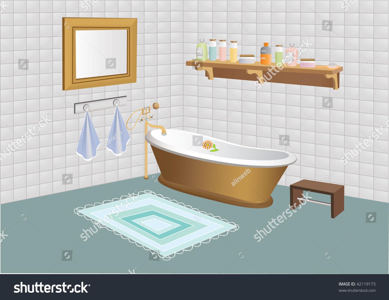 vector bathroom mirror shelf cosmetics stock ve