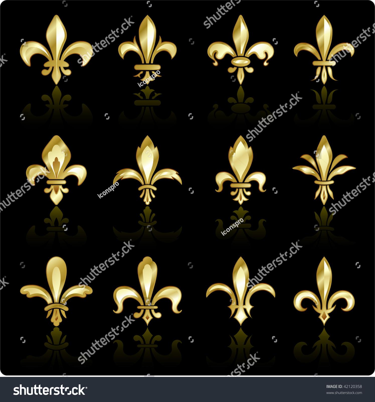 Fleur De Lis Design Collection Stock Vector 42120358