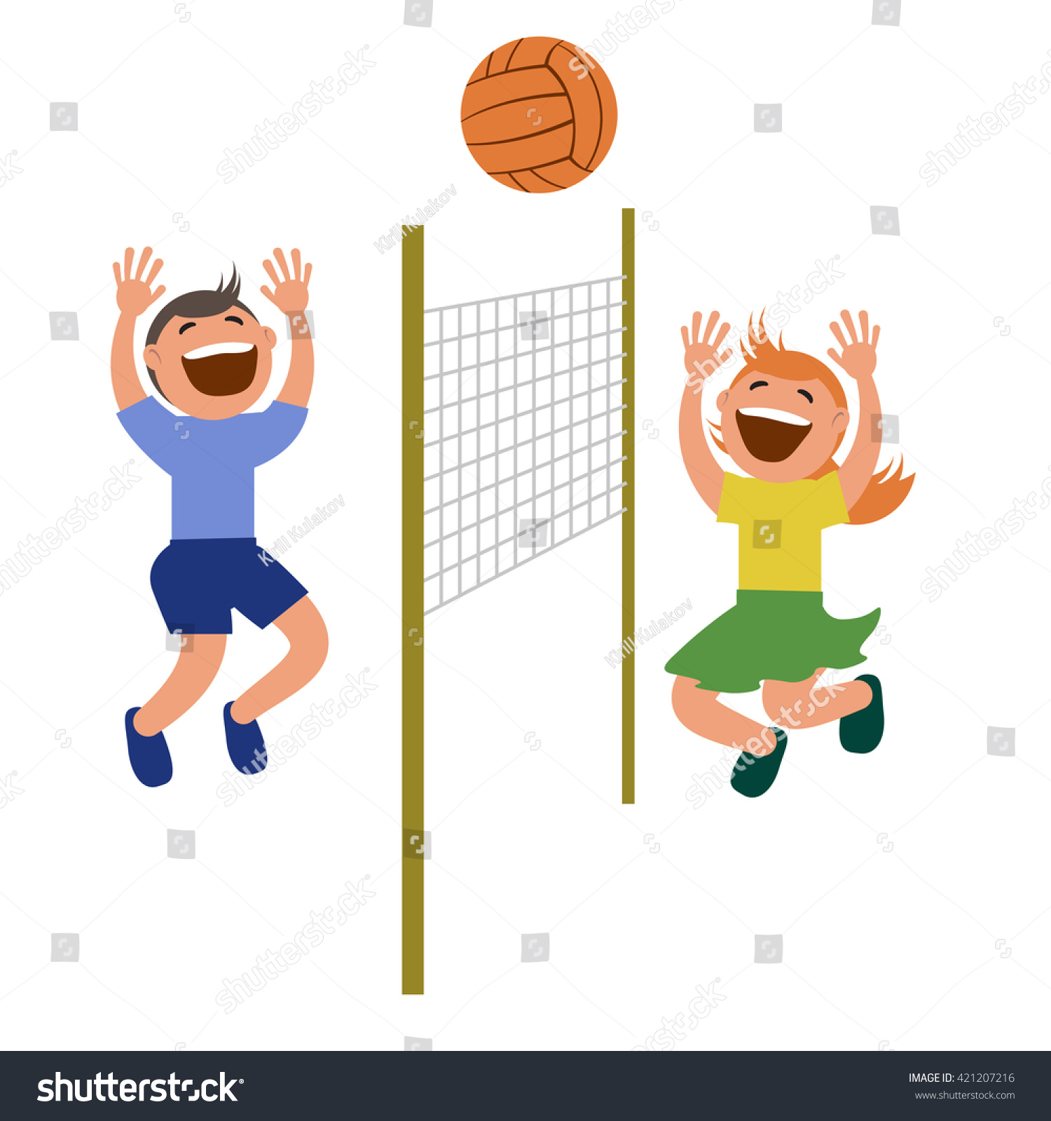 Two Kids Playing Volleyball Vector Illustration Stock