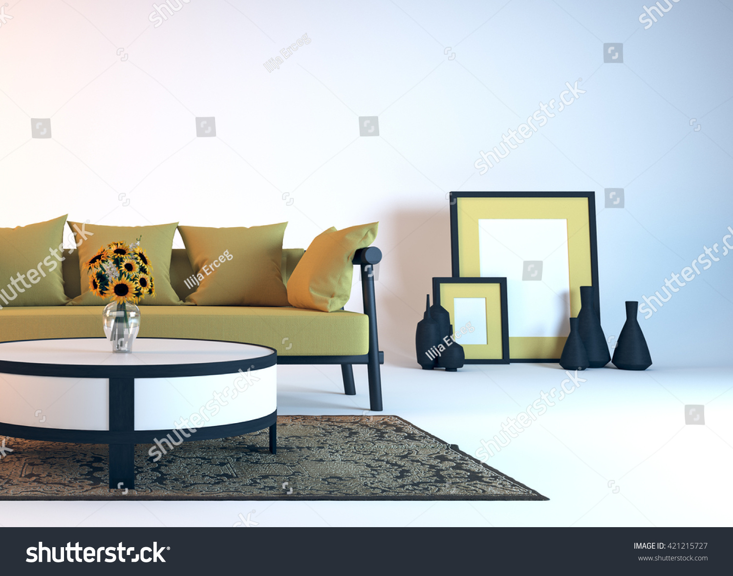 Modern interior design of living room 3D illustration  3D rendering. Modern Interior Design Living Room 3d Stock Illustration 421215727