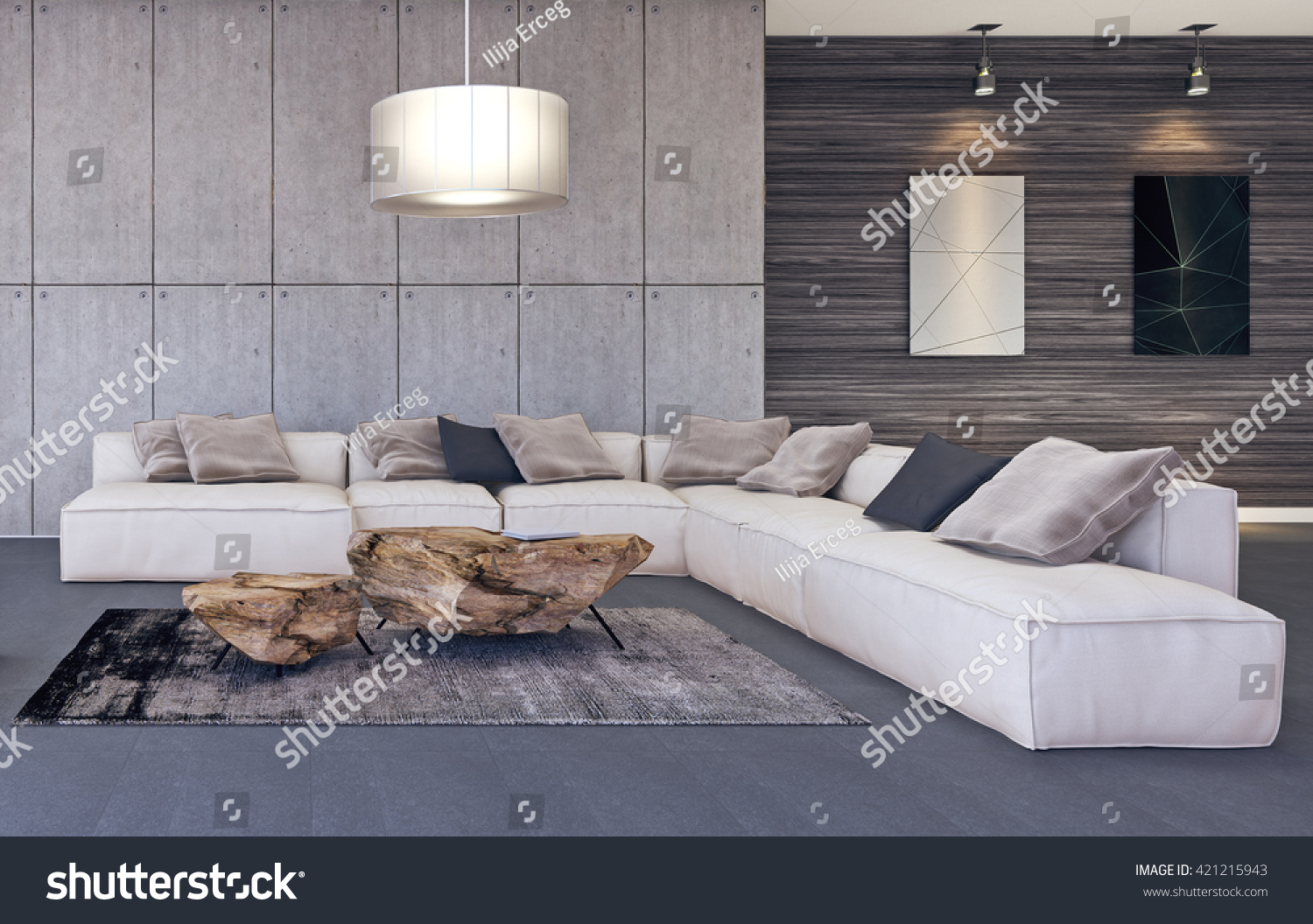 Modern interior design of living room 3D illustration  3D rendering. Modern Interior Design Living Room 3d Stock Illustration 421215943