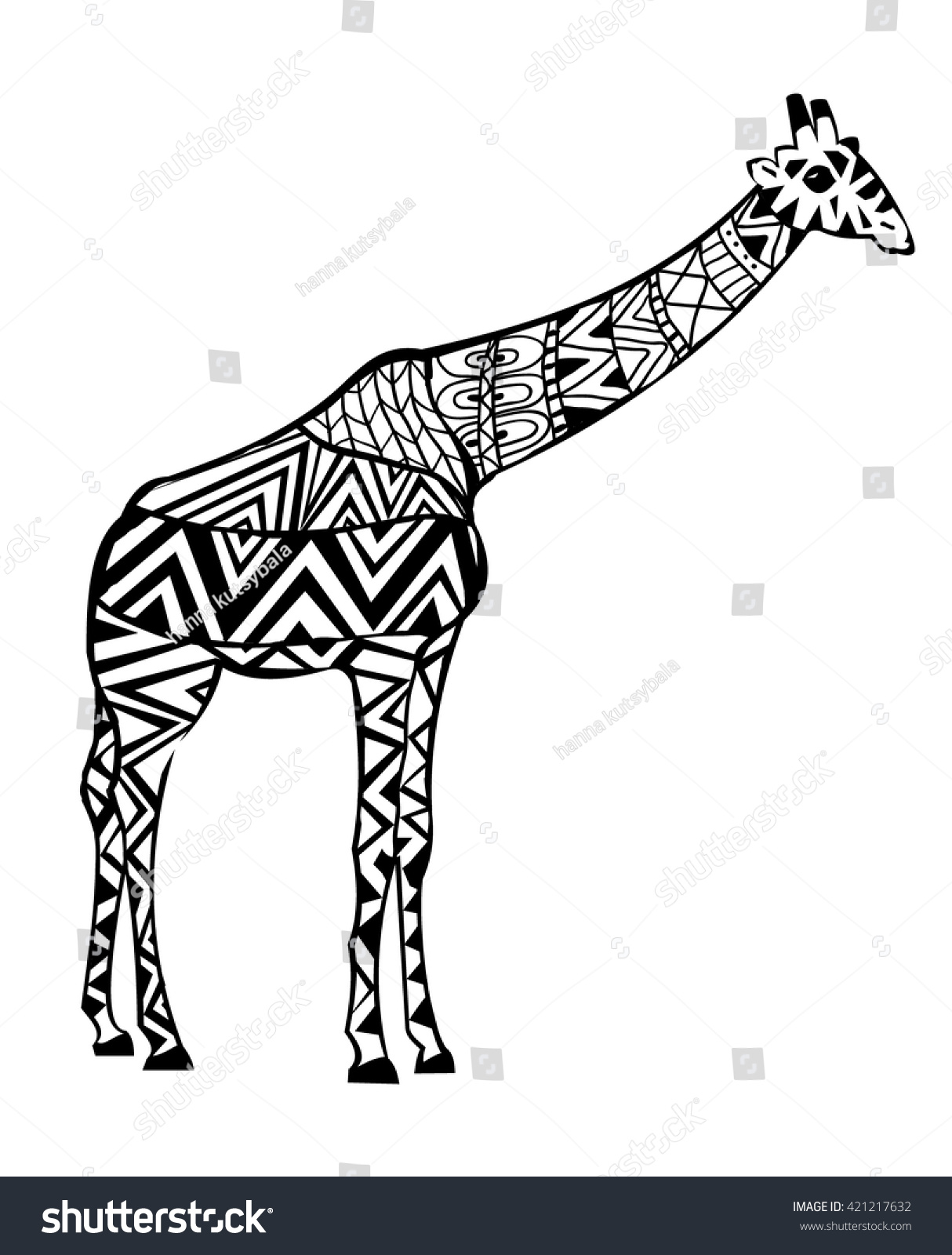 Hand Drawn Coloring Pages Giraffe Zentangle Stock Vector 421217632 ...
