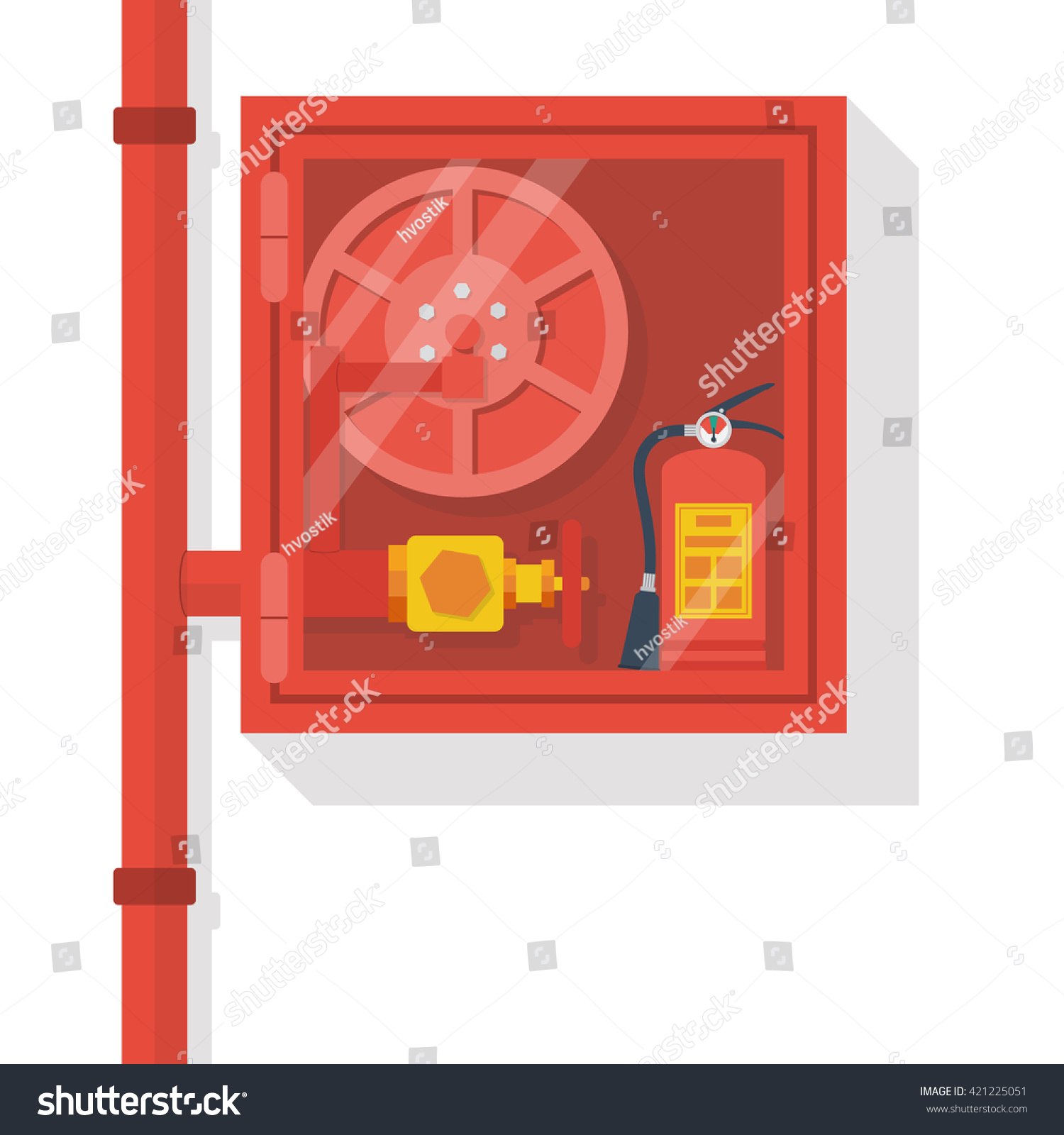Fire Equipment Cabinet Fire Hose Cabinet Isolate White Background Stock Vector 421225051