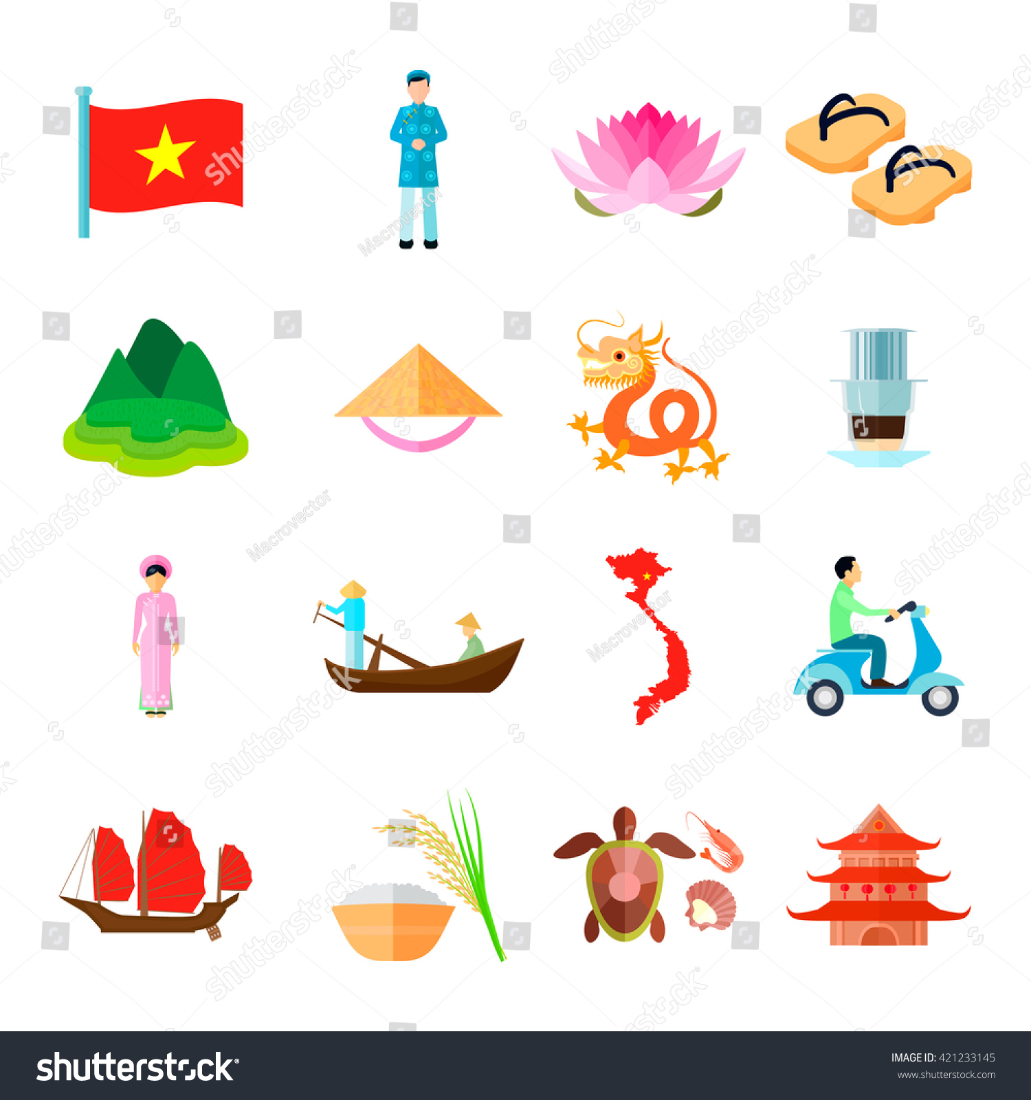 Vietnam Culture Symbols Flat Icons Set Stock Vector Royalty Free 421233145