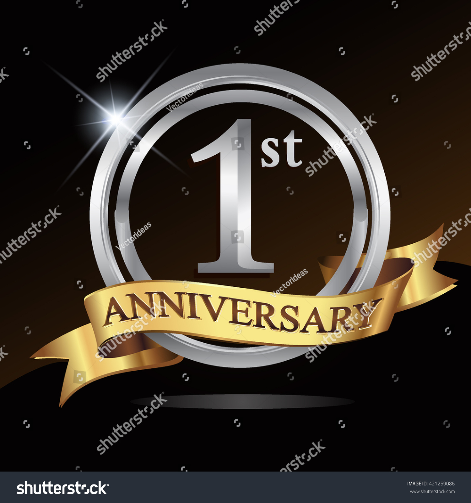 St anniversary logo shiny silver ring stock vector