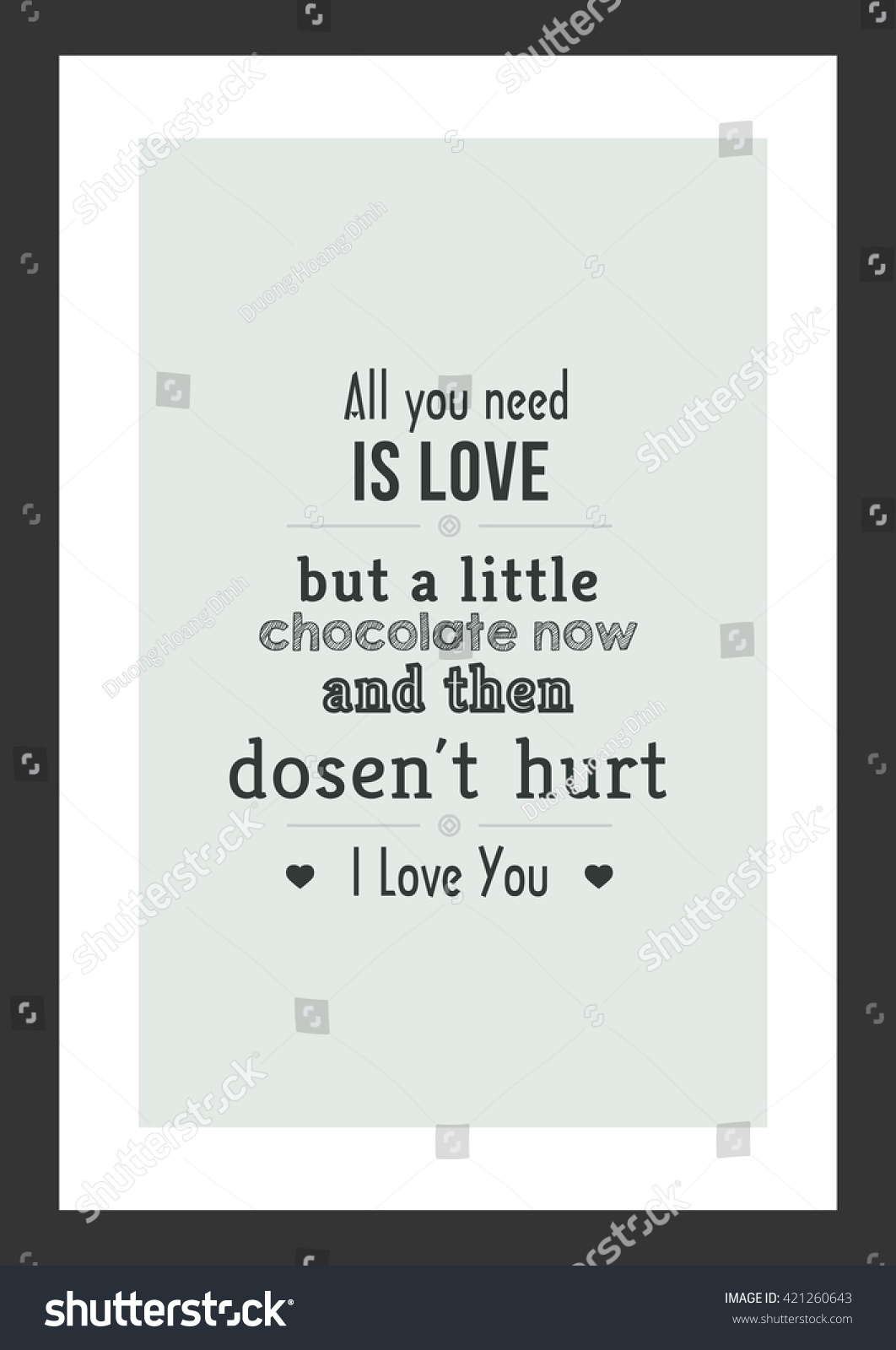 Sweet Love Quote Love Quote Sweet Love Chocolate Quote Stock Vector 421260643