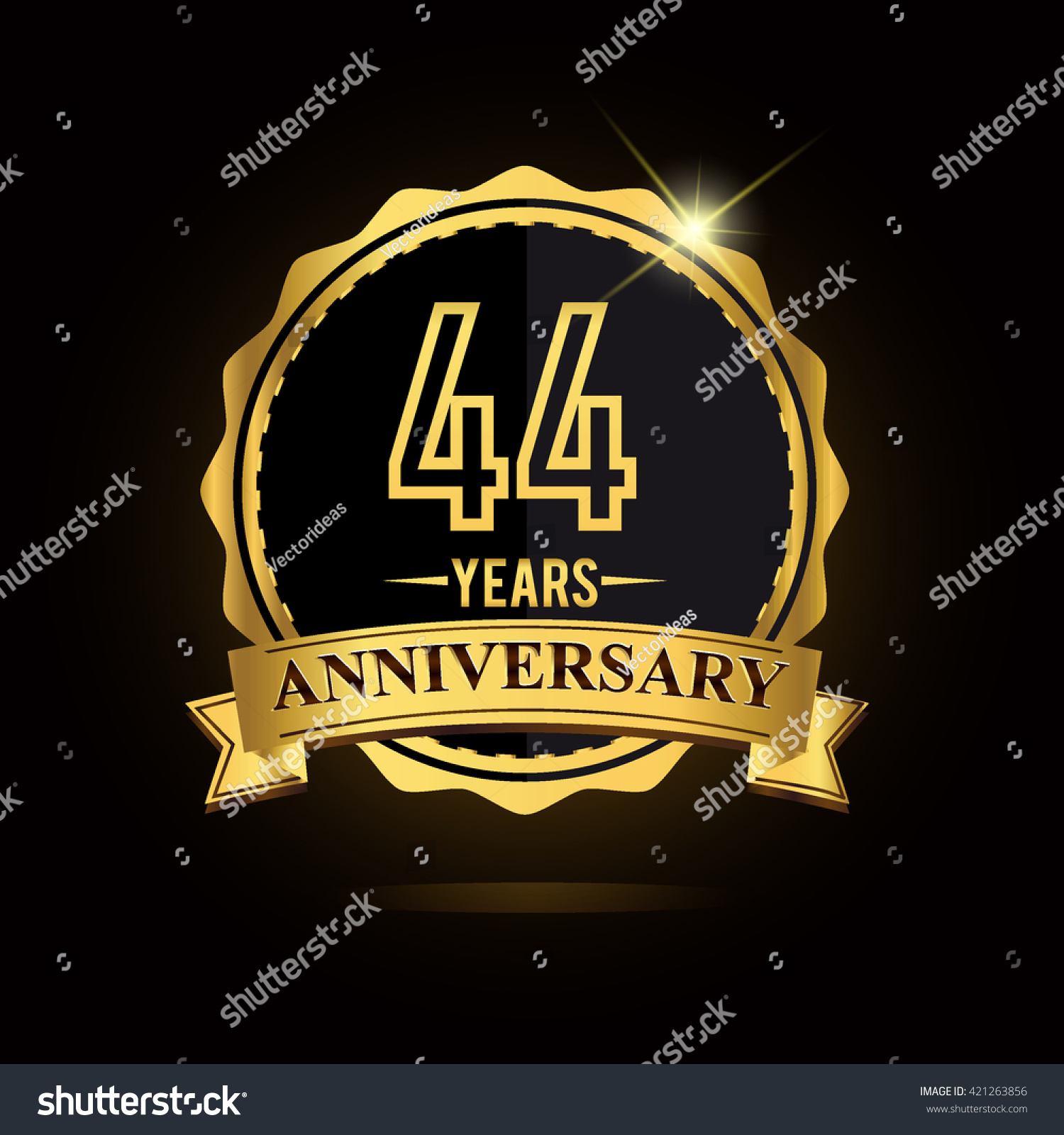 Vector emblem 44th anniversary logo ribbon stock vector 421263856 vector emblem 44th anniversary logo with ribbon golden colored and shiny badge biocorpaavc Gallery