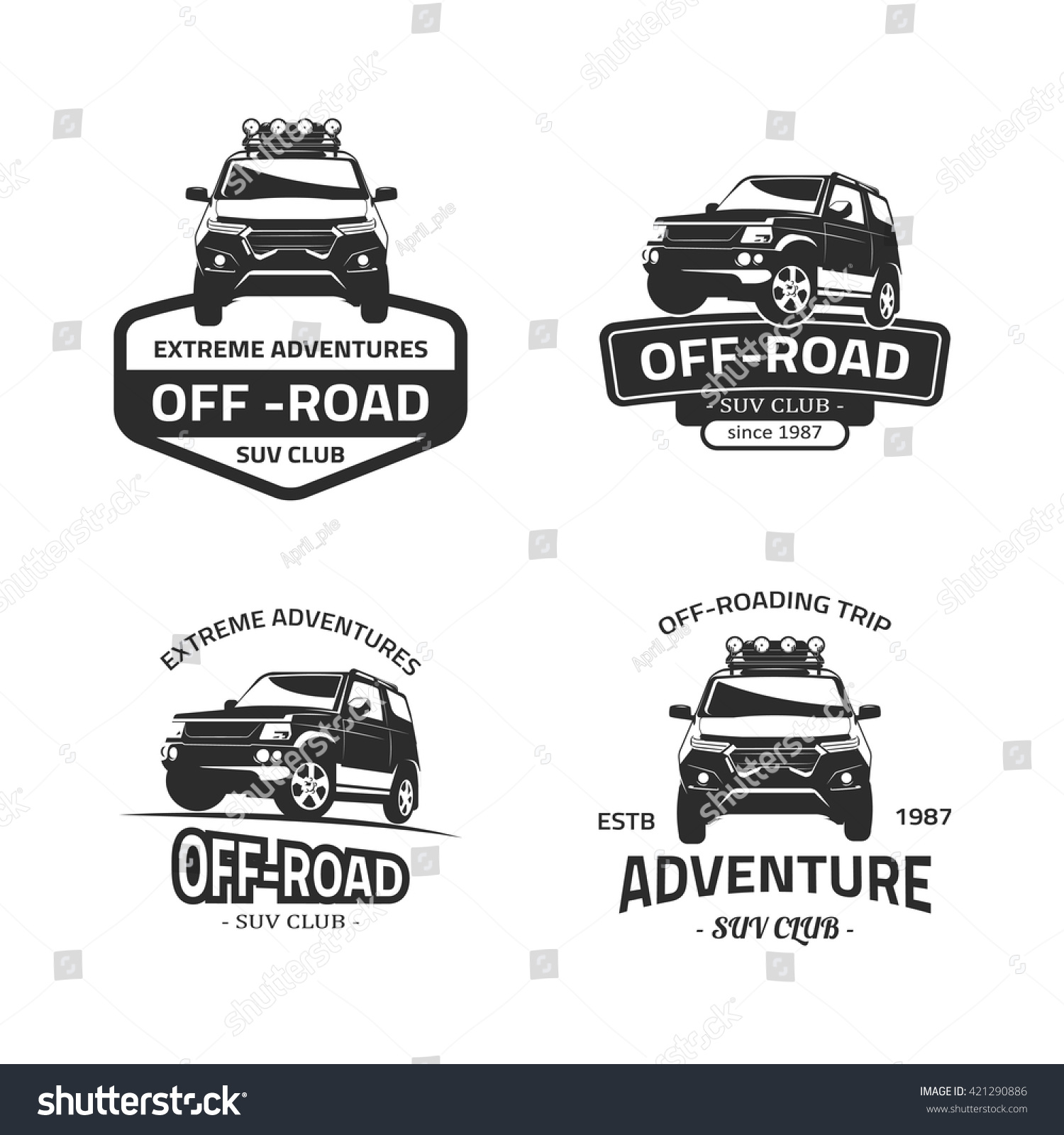 Set Four Offroad Suv Car Black Stock Vector Royalty Free 421290886