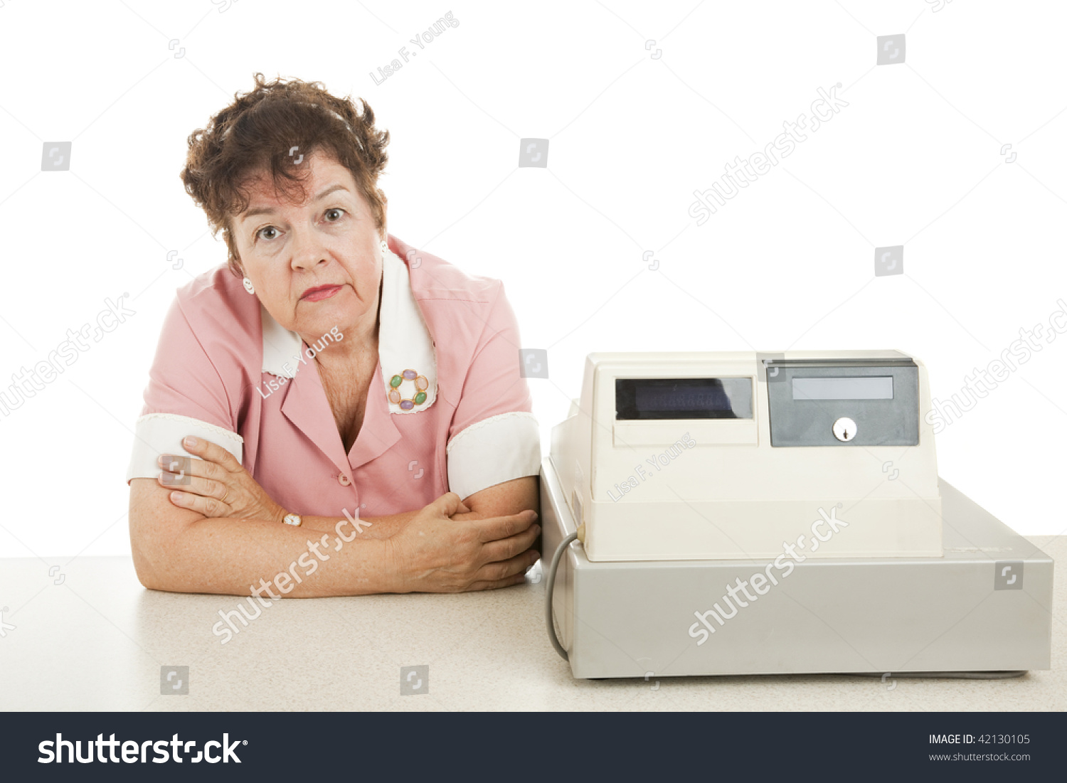 cashier bored because there no customers stock photo 42130105