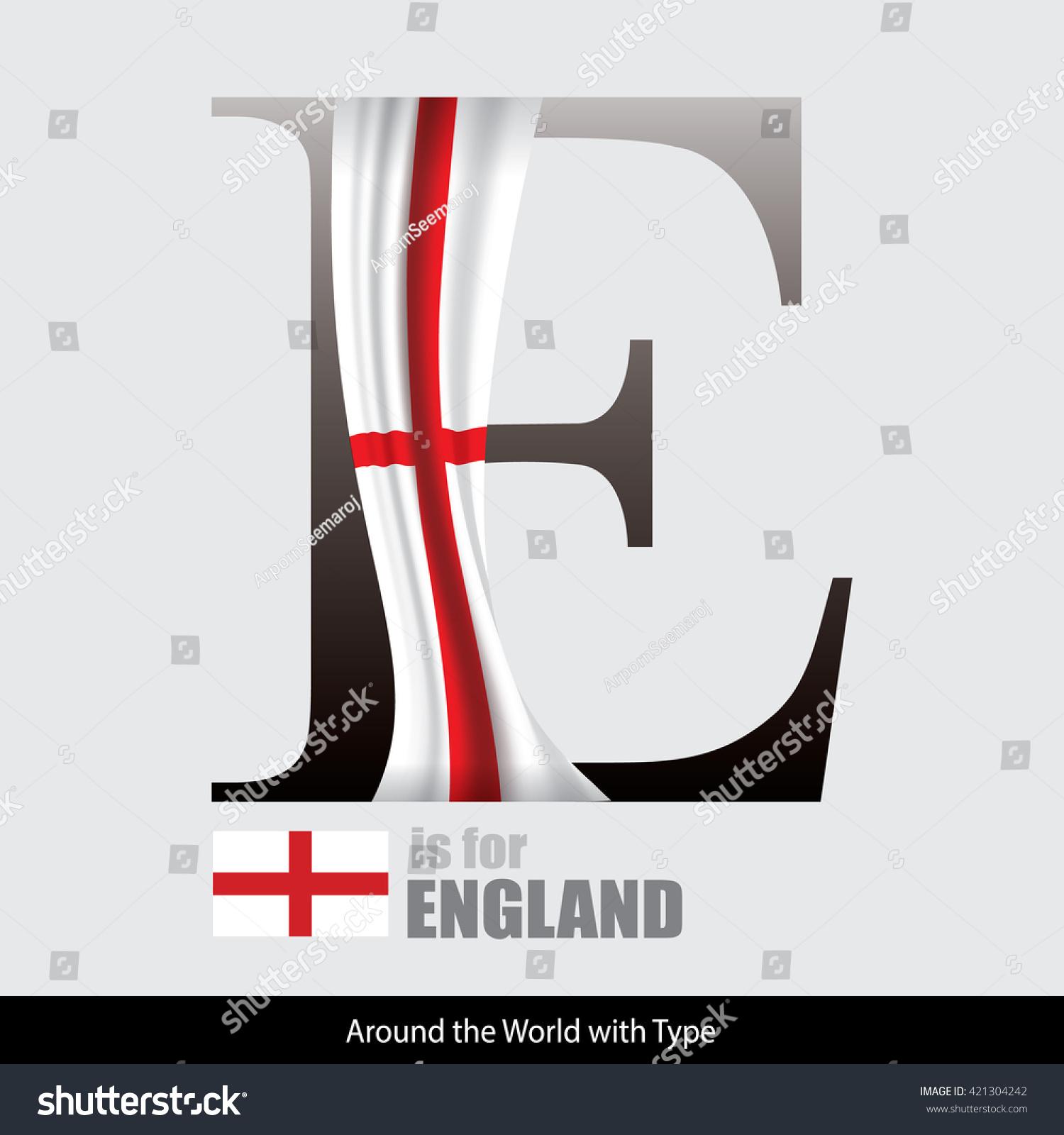 vector letter e england flag design stock vector 421304242
