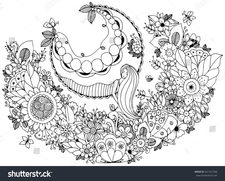 vector illustration zen tangle on stock vector 421321936
