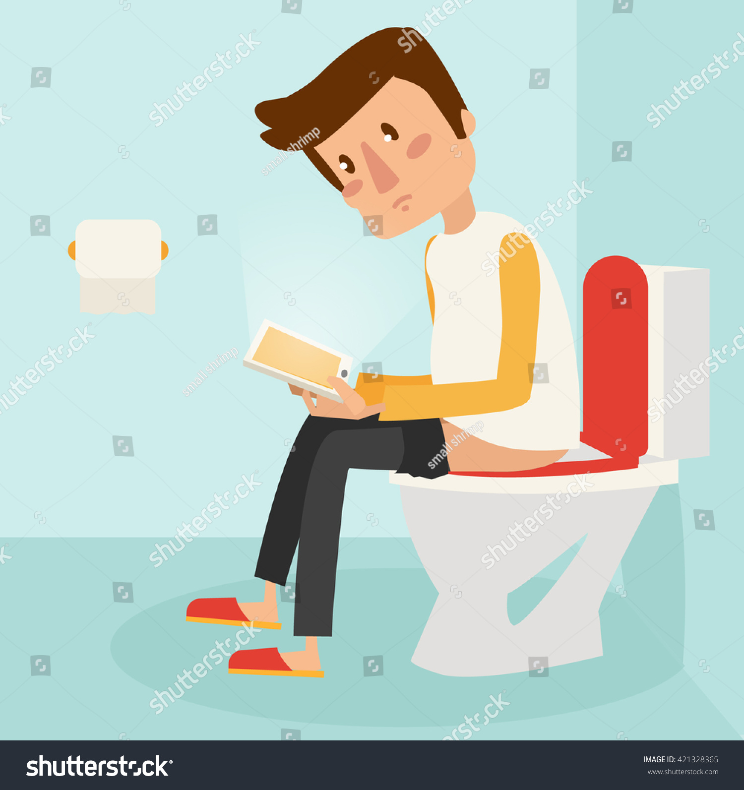 using the bathroom. Man using phone while the bathroom  vecor illustration Using Phone While Bathroom Stock Vector 421328365