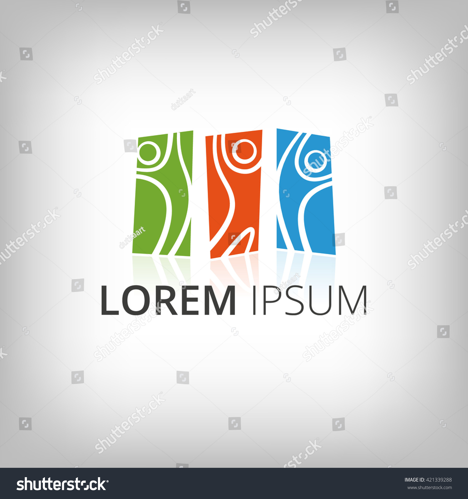 Abstract People Silhouettes Logo Design Template Stock Vector ...