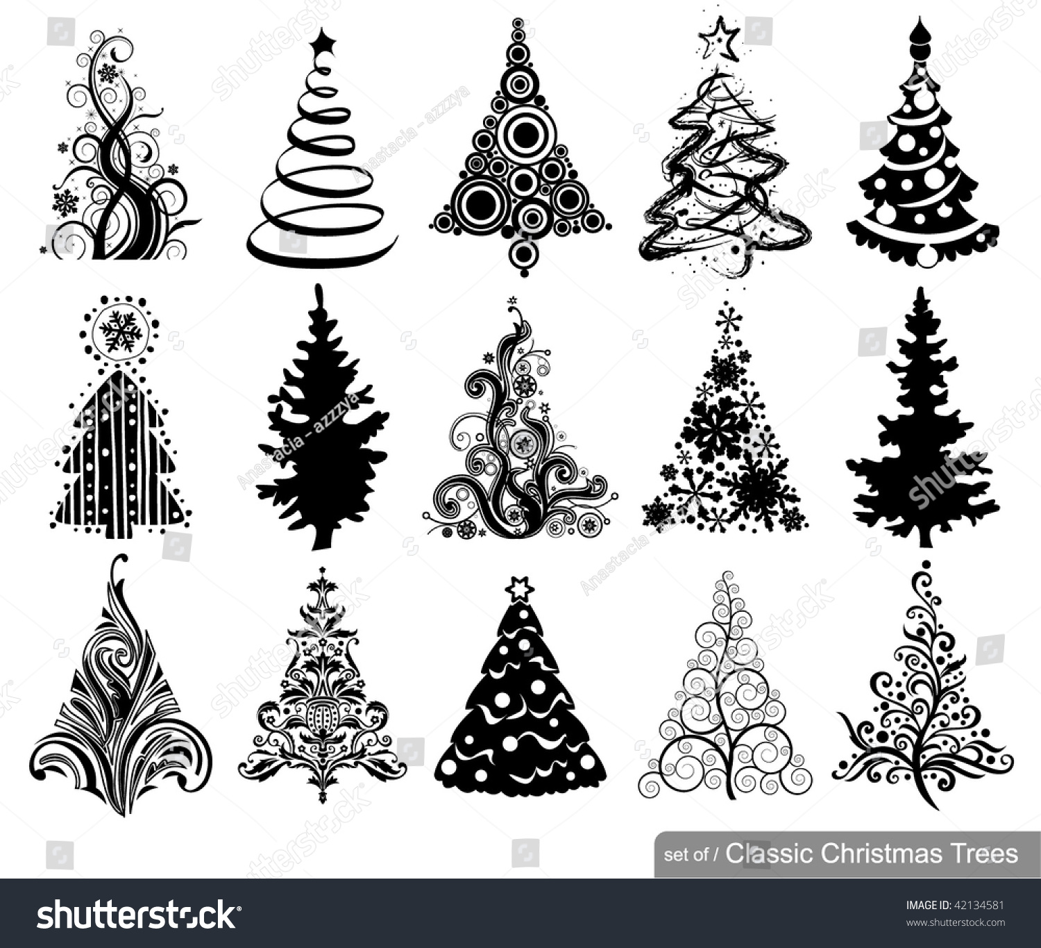 set of classic christmas trees 15 designs in one file to see similar sets - Classic Christmas Trees