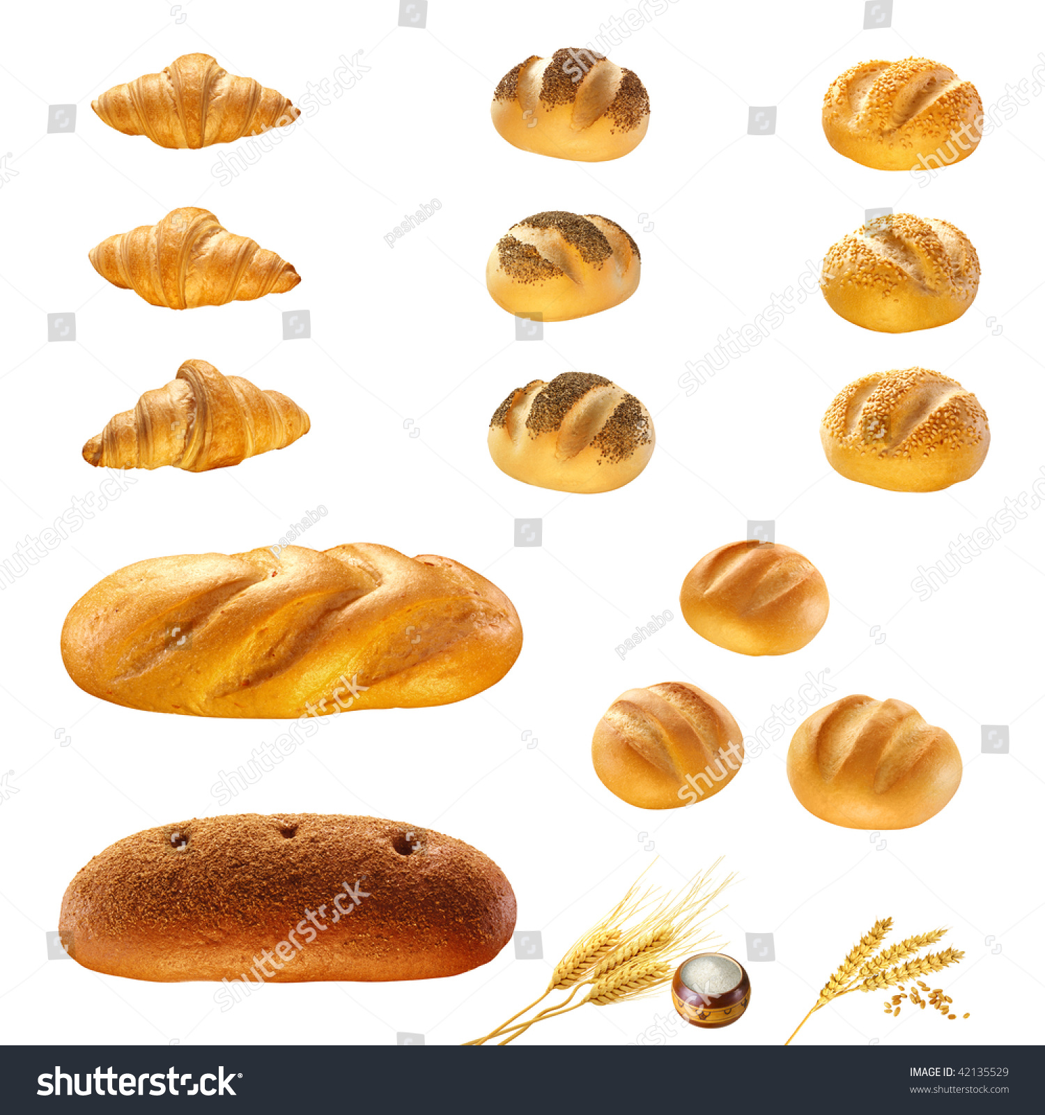 Set Types Bread Products Isolated Prepare Stock Photo 42135529 ...