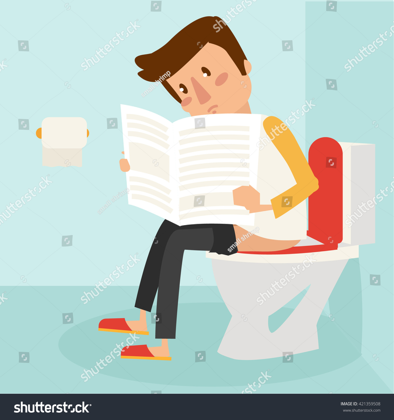 Man Read Magazine While Using Bathroom Stock Vector Royalty Free 421359508
