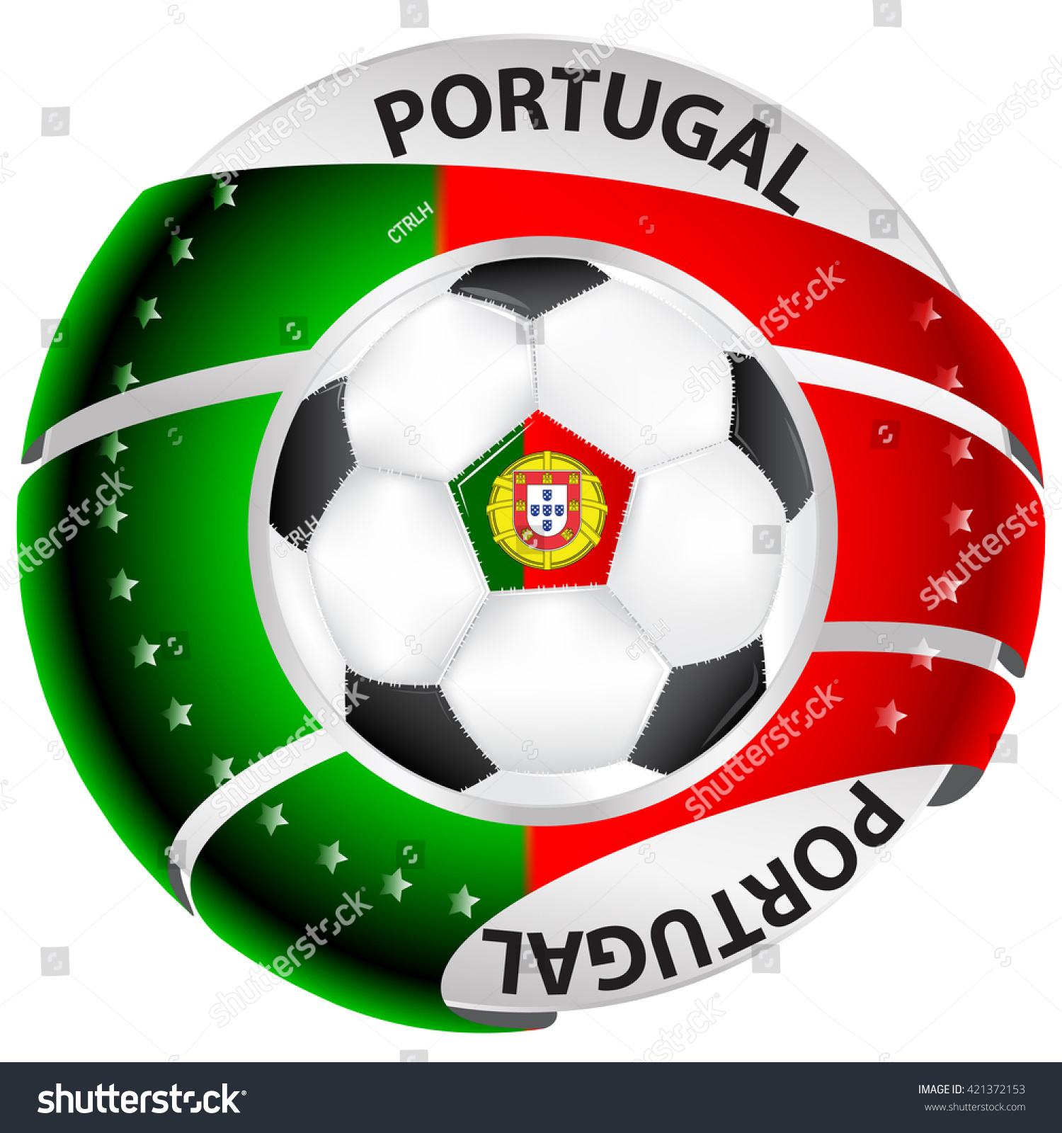 Portugal Soccer Label Containing Soccer Ball Stock Vector Royalty