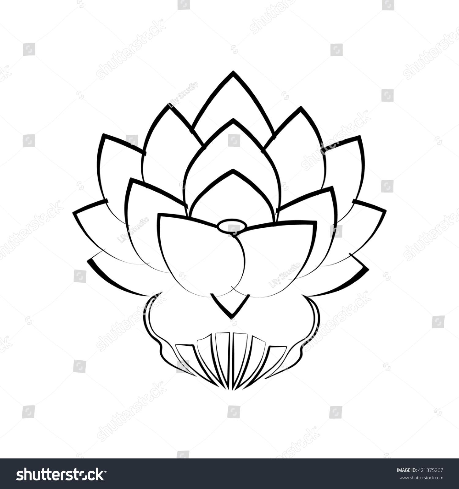 Royalty free black stylized image of a lotus flower 421375267 black stylized image of a lotus flower on a white background tattoo the symbol izmirmasajfo