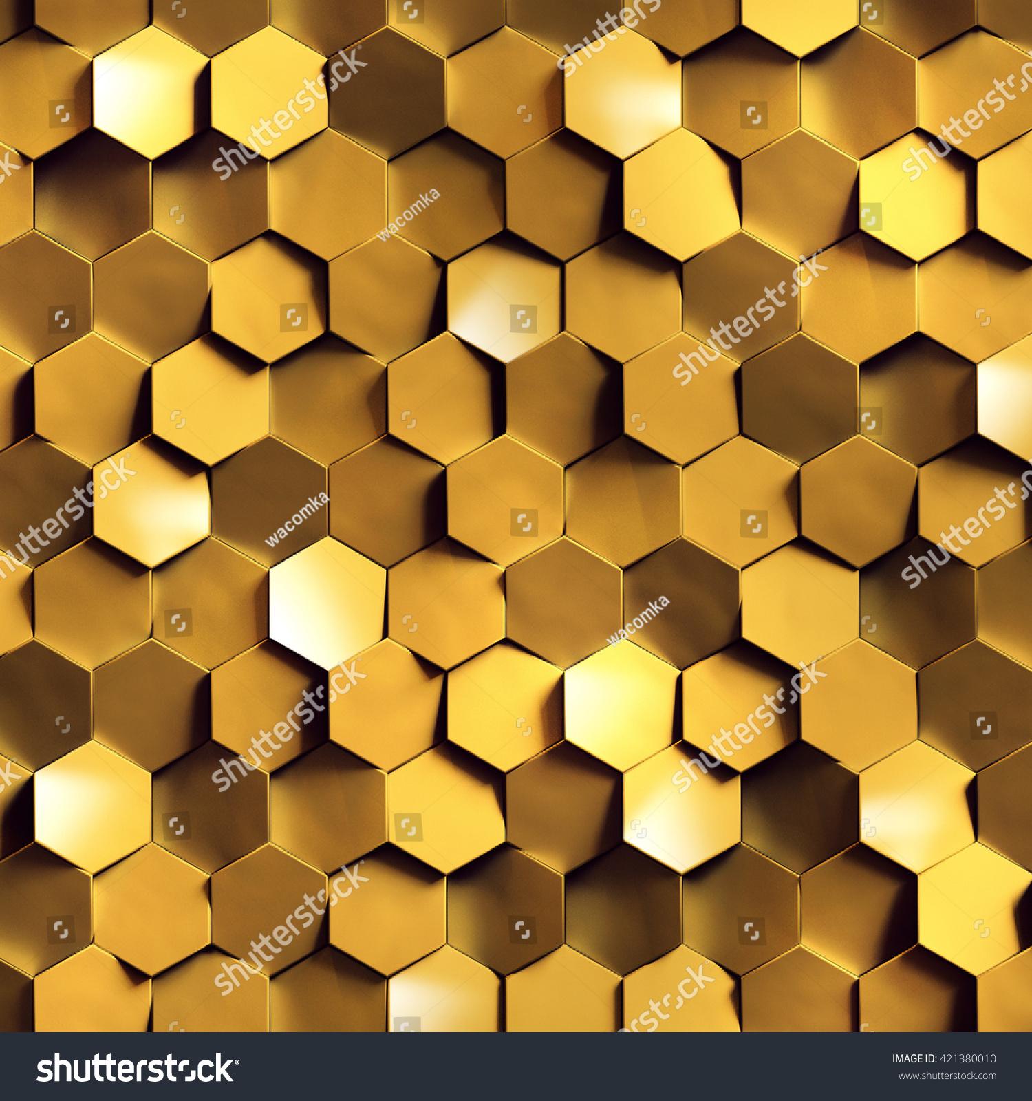 3d Render Golden Honeycomb Wall Texture Stock Illustration