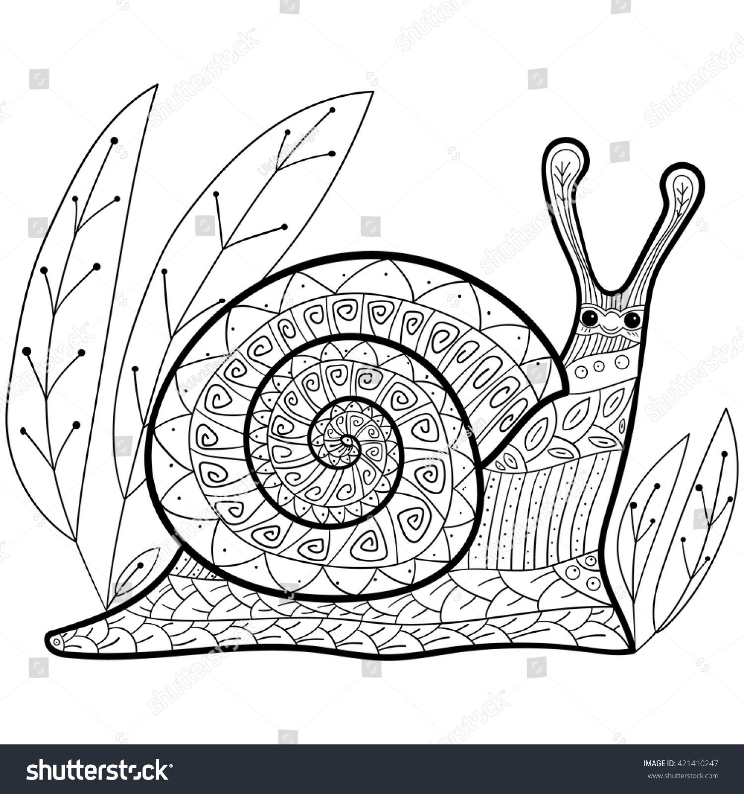 coloring cute snail garden colouring stock vector 421410247