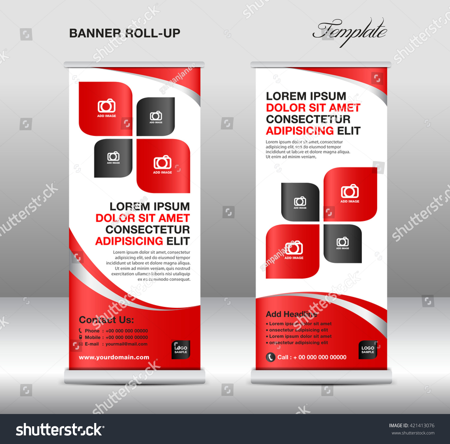 red roll up banner stand template advertisement flyer design red roll up banner stand template advertisement flyer design vector illustration