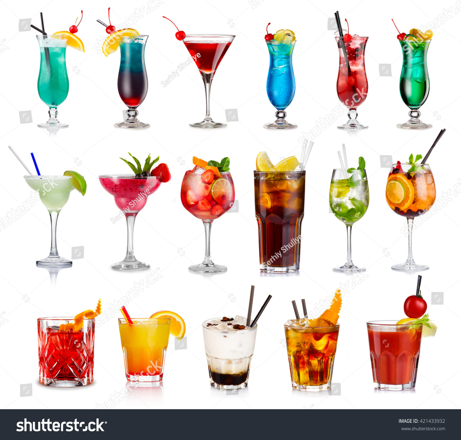 Set Classic Alcohol Cocktails Isolated On Stock Photo ...