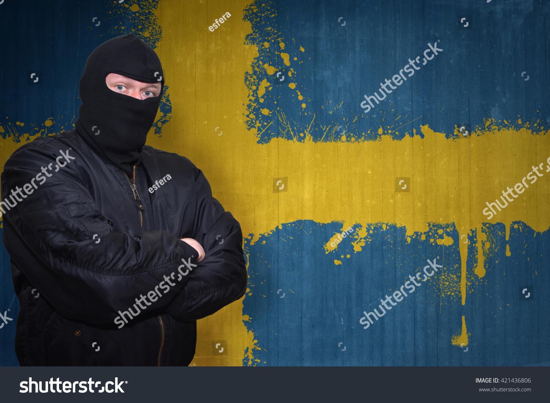Dangerous Man Mask Standing Near Wall Stock Photo & Image (Royalty ...