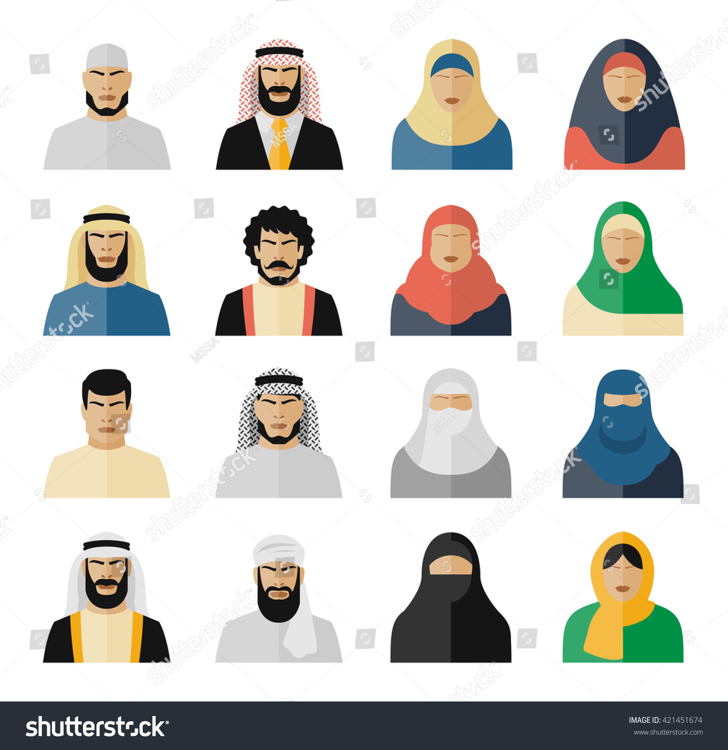 Set of arab people flat icons Muslim arabian islam woman and man Vector illustration