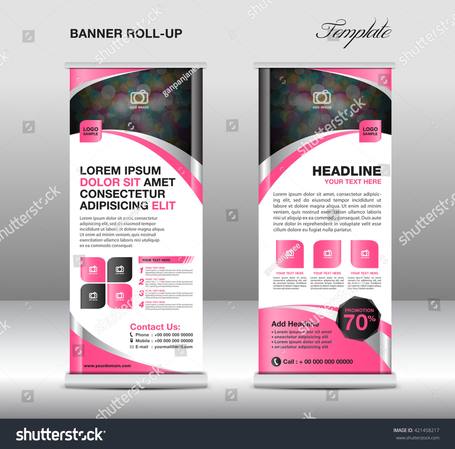 roll banner template stand design advertisement stock vector roll up banner template stand design advertisement flyer display vector