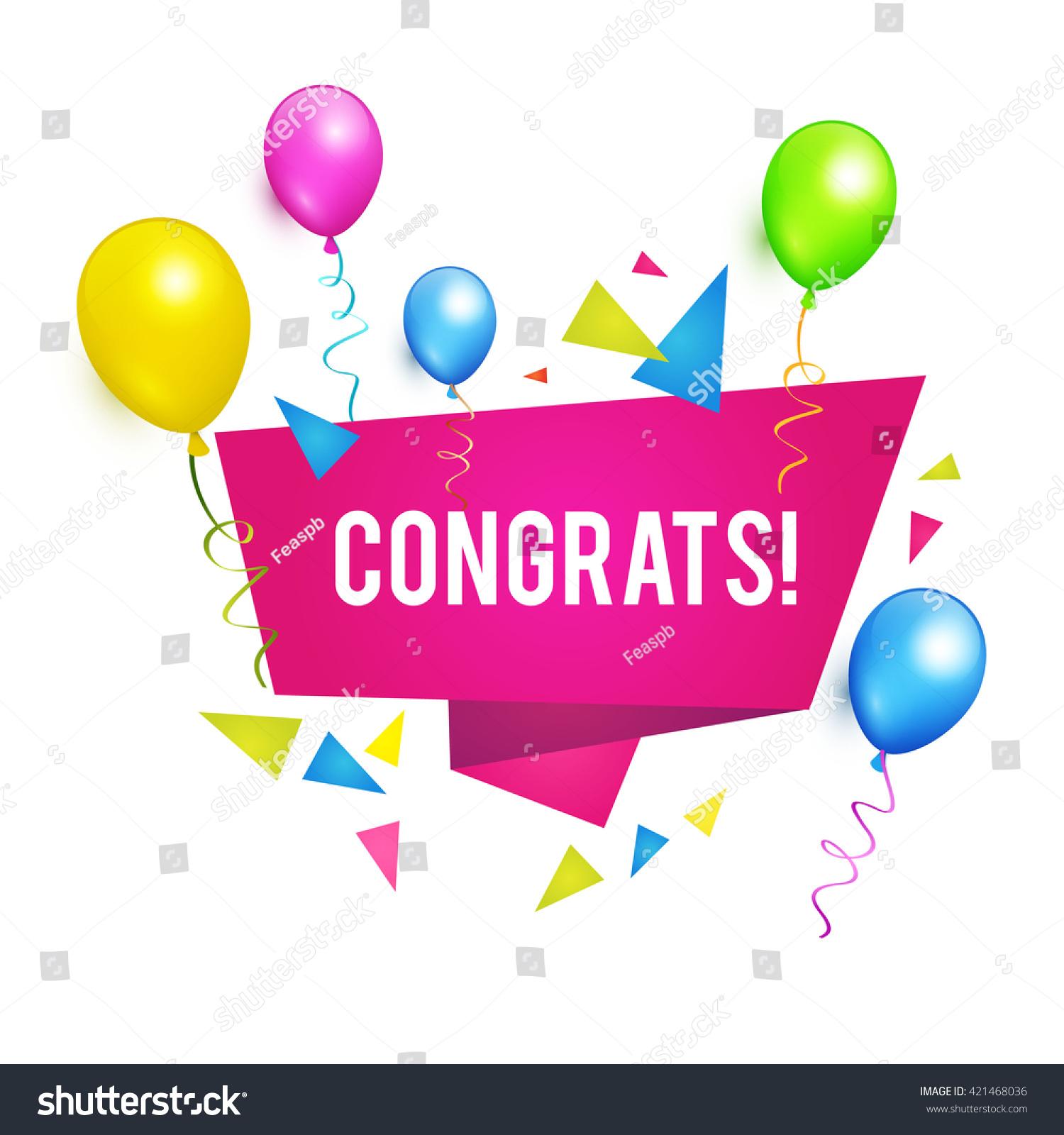 congrats congratulations banner balloons win birthday