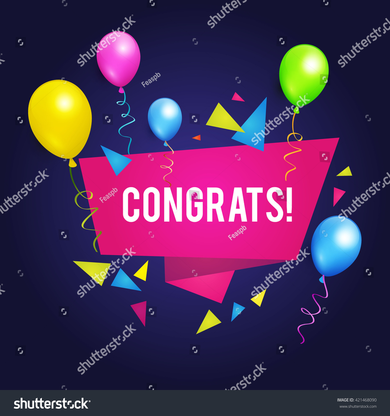 Congrats Congratulations Banner Balloons Win Birthday Stock Vector