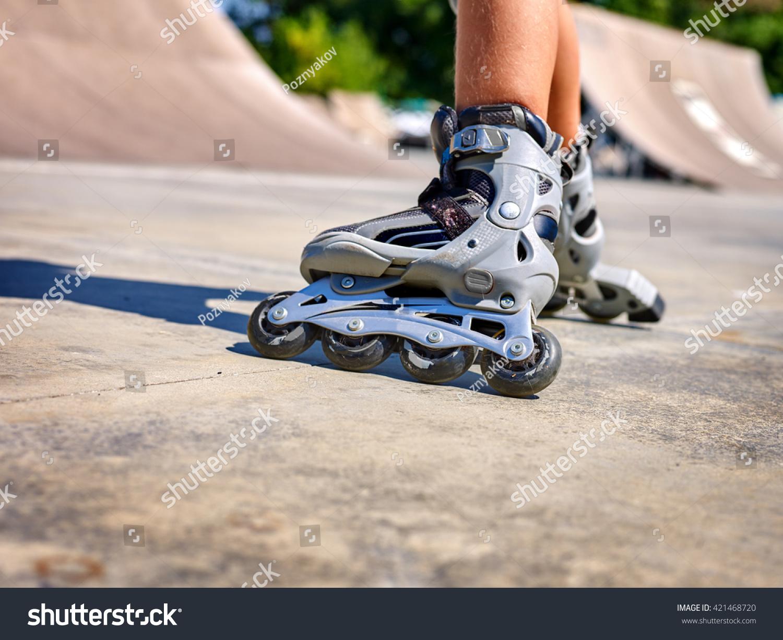 Roller skate xtreme - Roller Skate Legs Close Up In Skatepark Low Section Roller Skates Is Extreme Sport