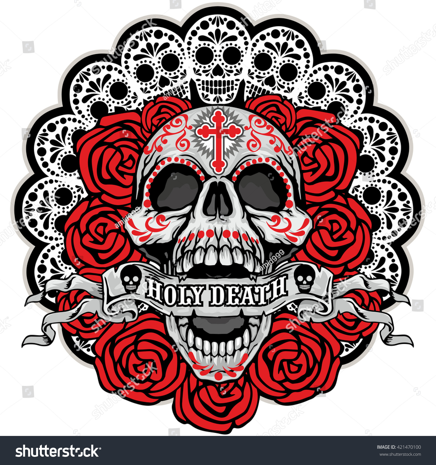 Holy Death Day Dead Mexican Sugar Stock Vector 421470100 ...
