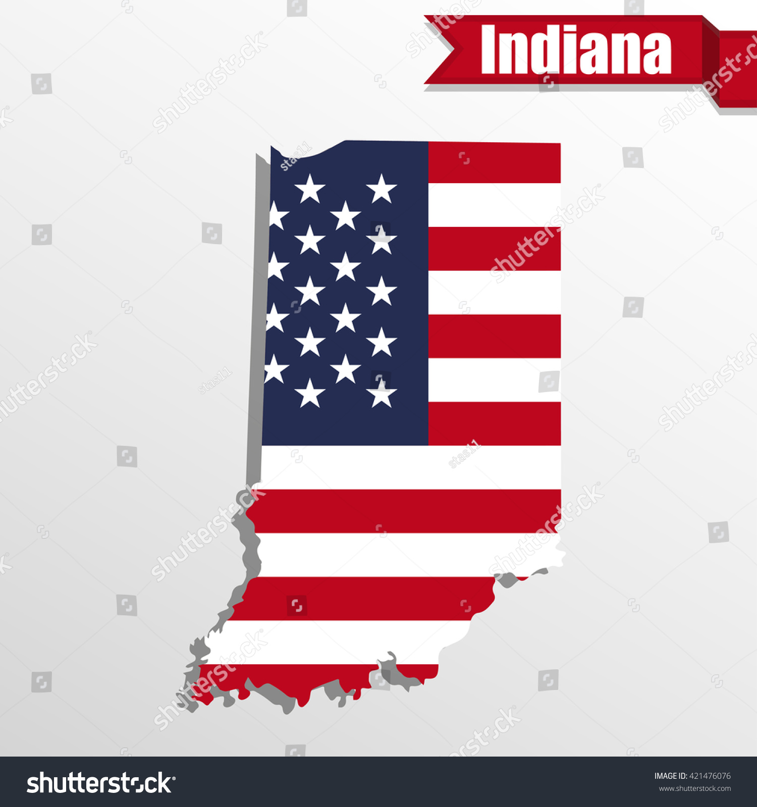 Indiana State Map Us Flag Inside Stock Vector Shutterstock - Indiana state on us map