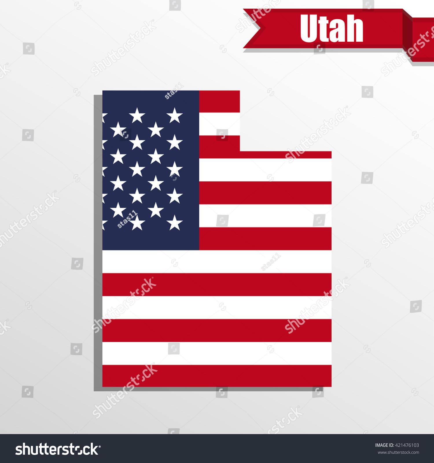 Utah State On USA Map Utah Flag And Map US States Royalty Free - Utah on a us map