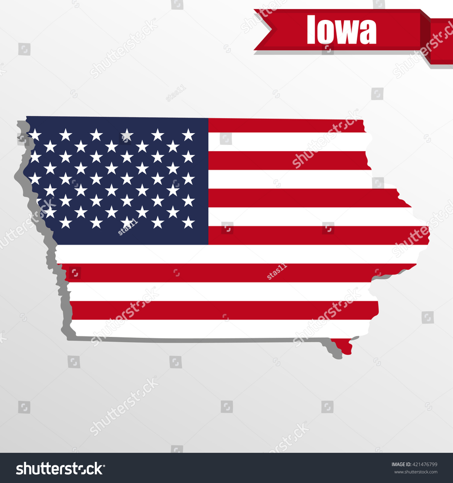 Iowa State Map Us Flag Inside Stock Vector Shutterstock - Where is iowa state on the us map