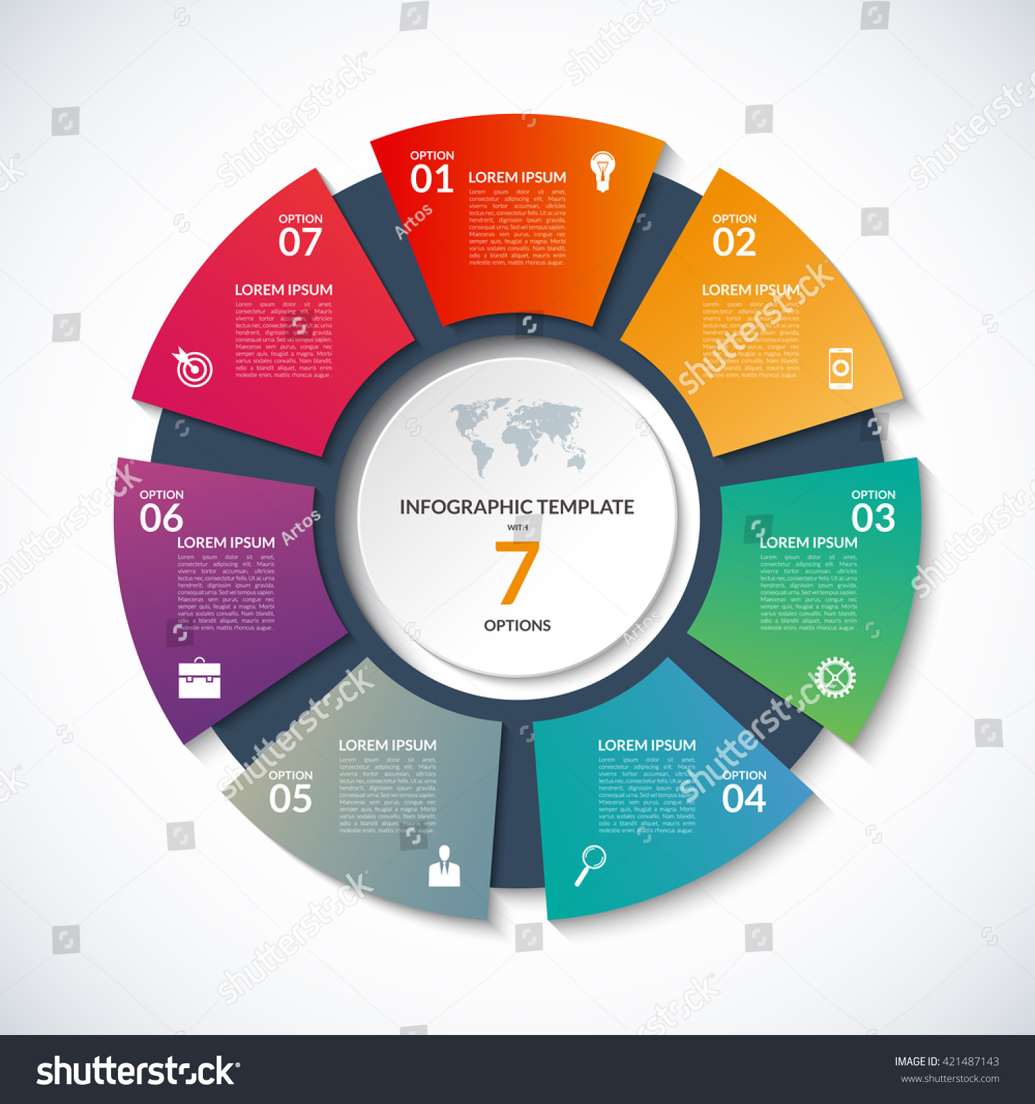 Vector Circle Template Infographics Business Concept Stock
