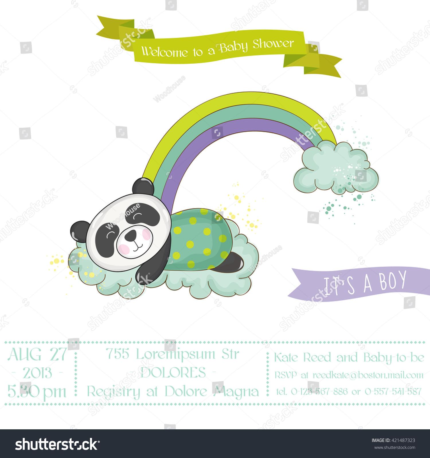 Baby Shower Arrival Card Cute Panda Stock Vector