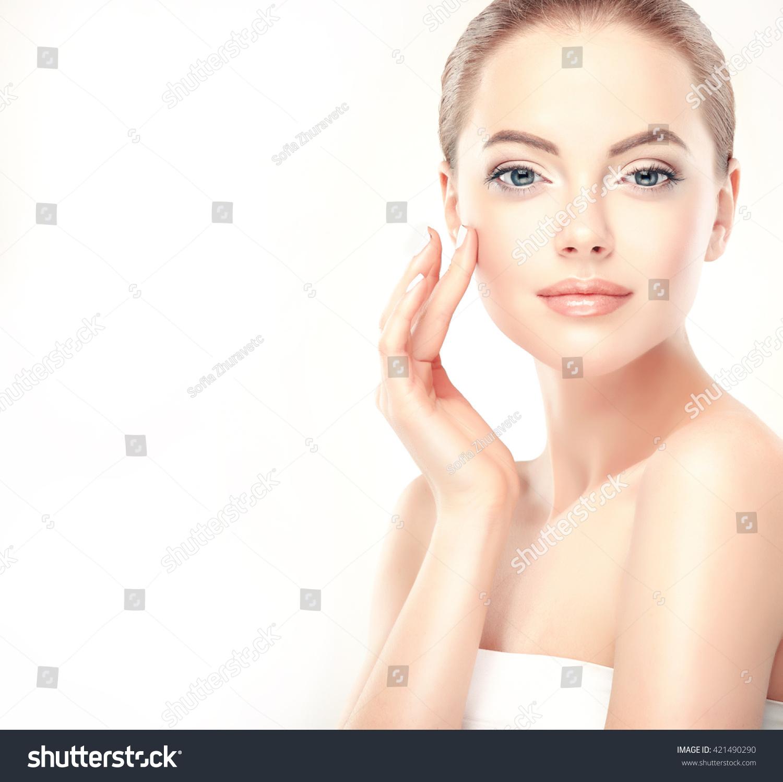 Beautiful young woman clean fresh skin stock photo for Skins beauty salon