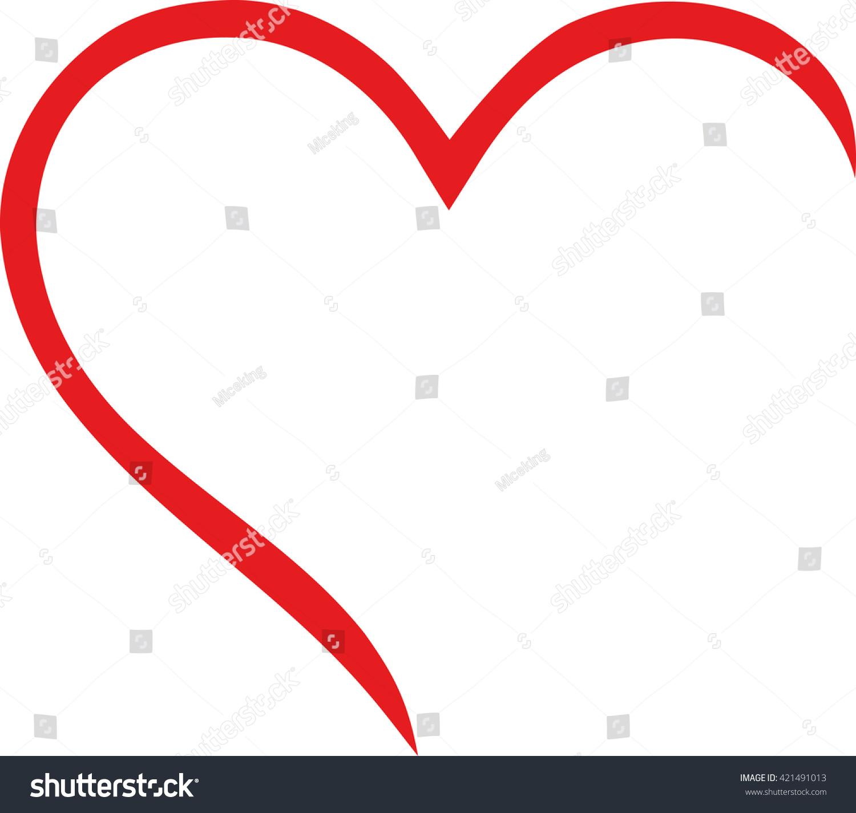 Half Heart Outline Stock Vector 421491013 - Shutterstock
