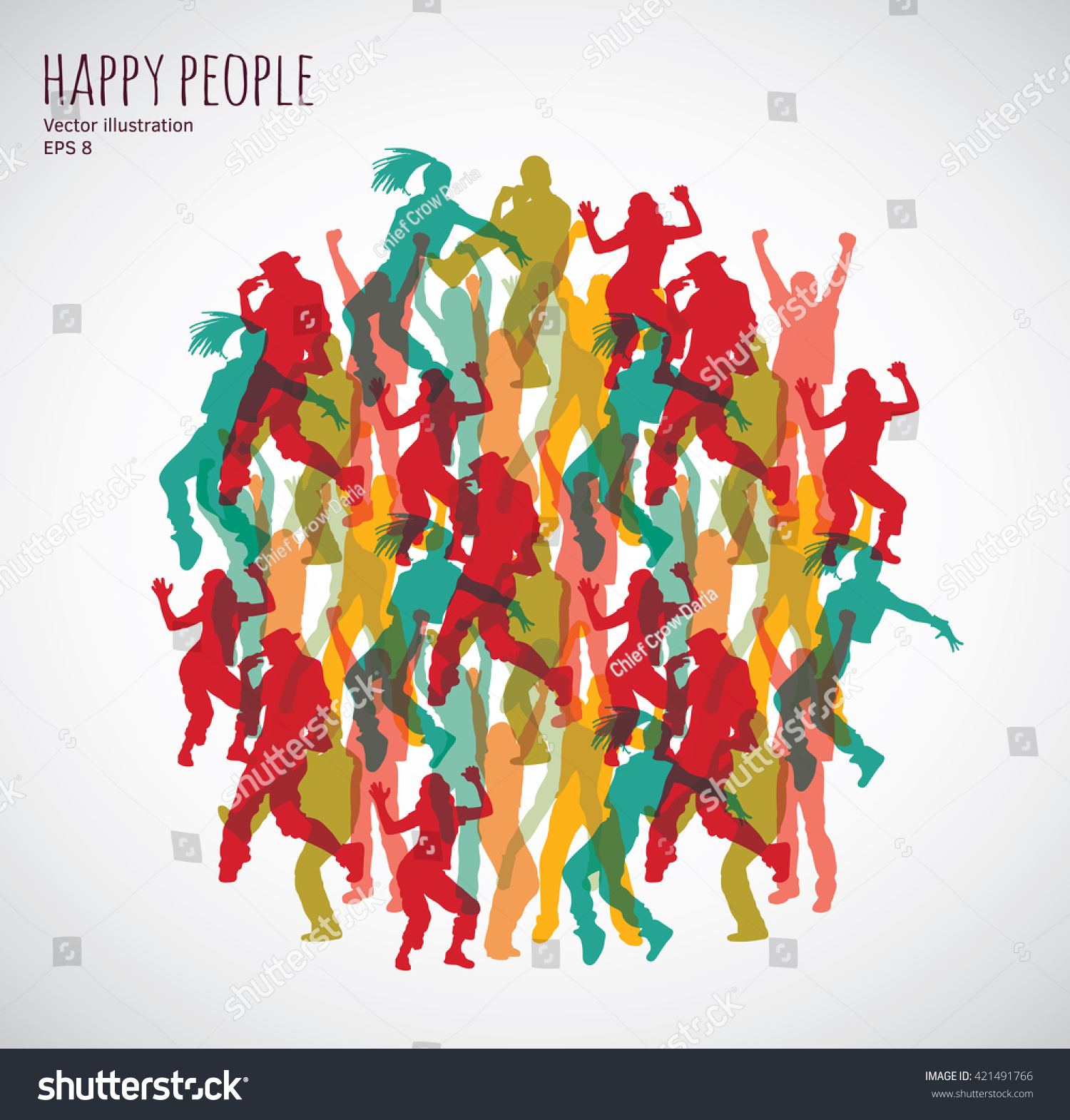 Happy Color group happy color dancing people color stock vector 421491766