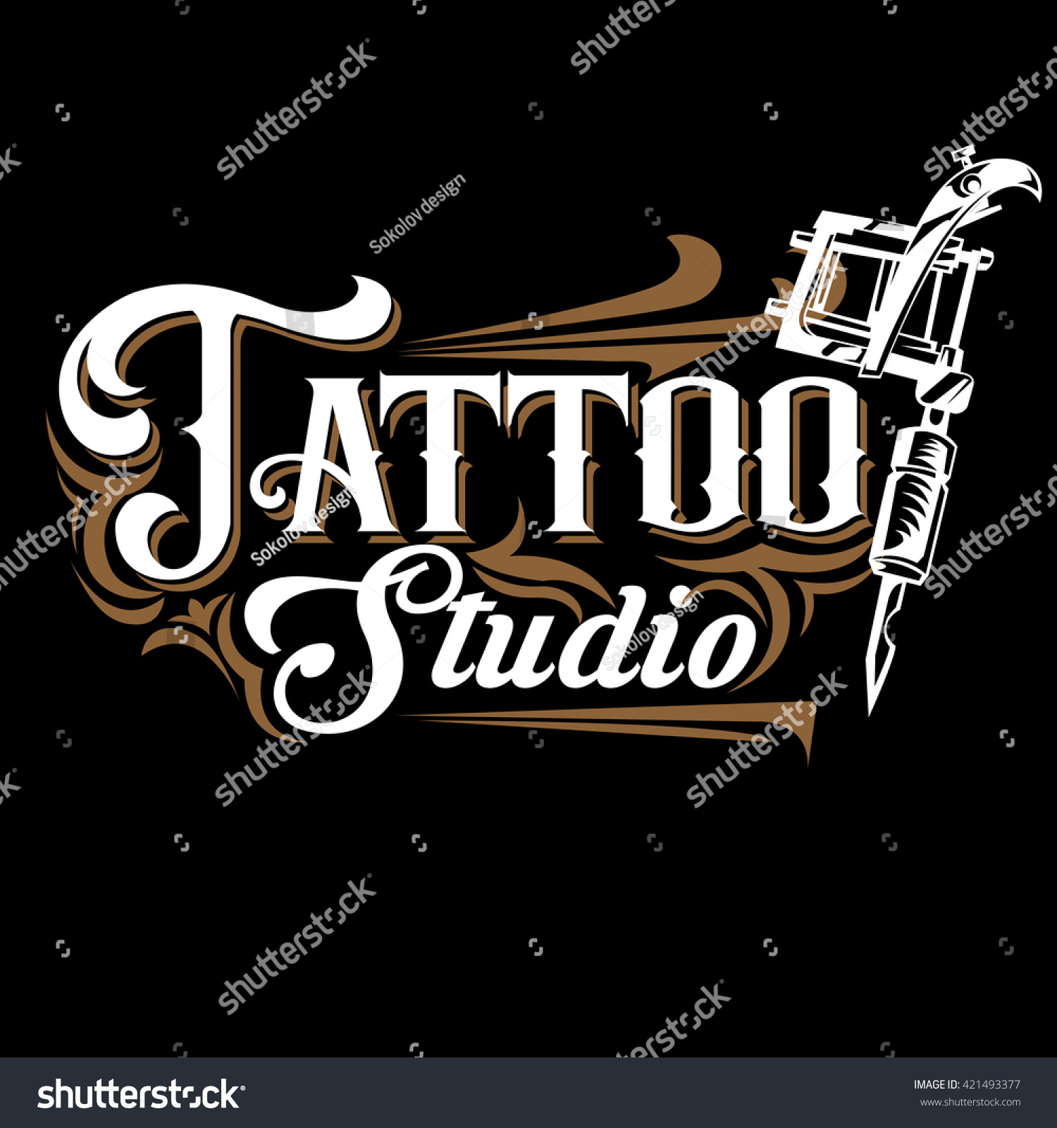 vector tattoo studio logo templates on vectores en stock 421493377 shutterstock. Black Bedroom Furniture Sets. Home Design Ideas