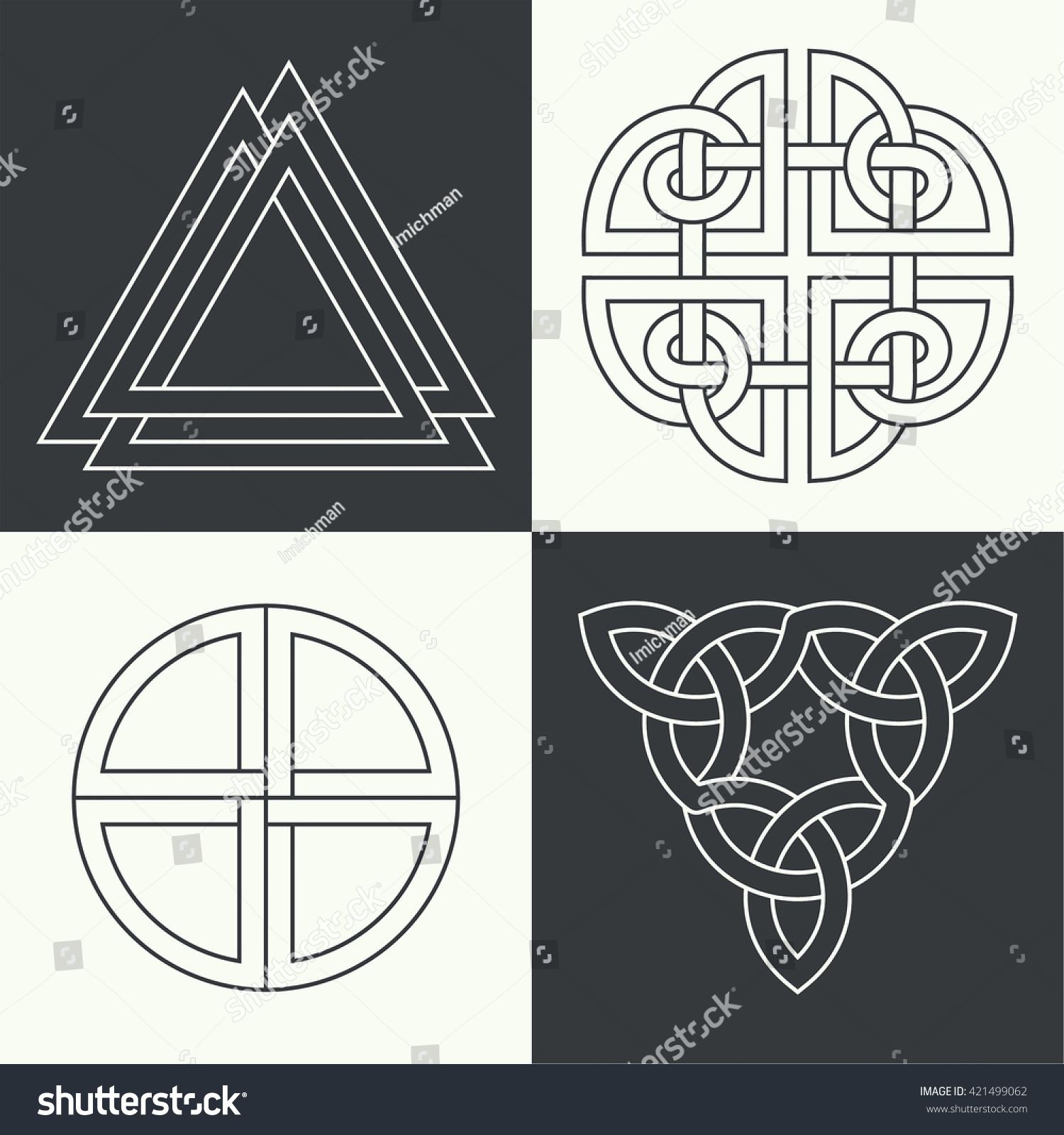 Set ancient symbols executed linear style stock vector 421499062 set of the ancient symbols executed in linear style celtic signs knots and interlacings buycottarizona