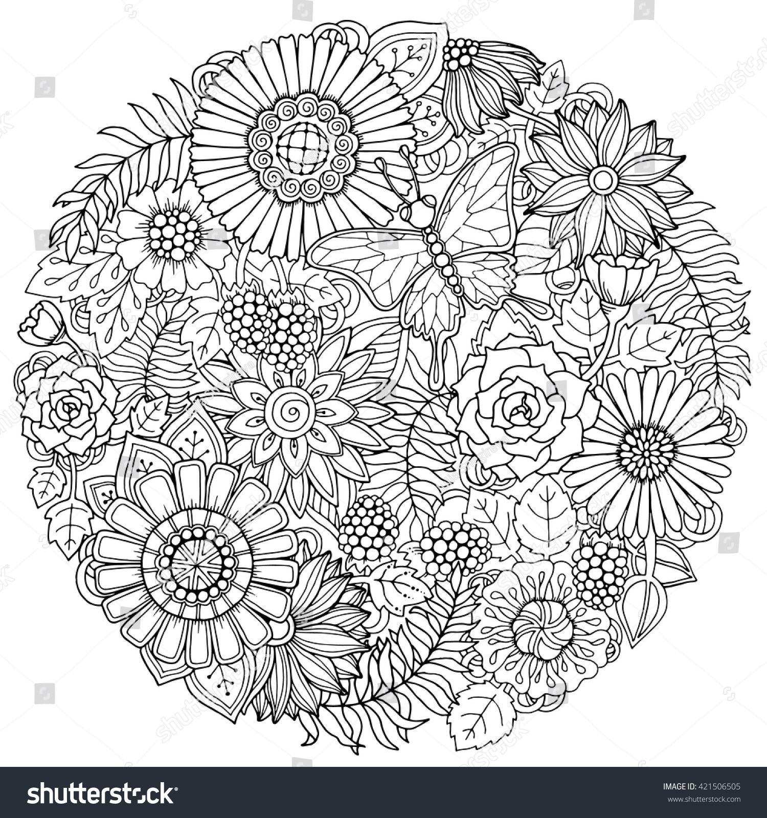 circle summer doodle flower ornament butterfly stock vector