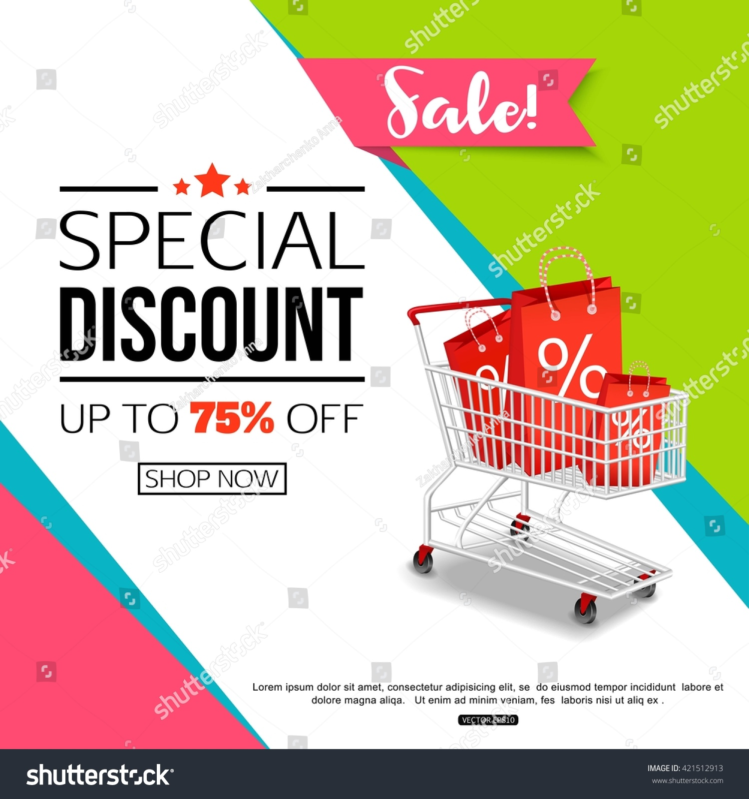 Special Discount Template Sale Banner Poster Stock Vector