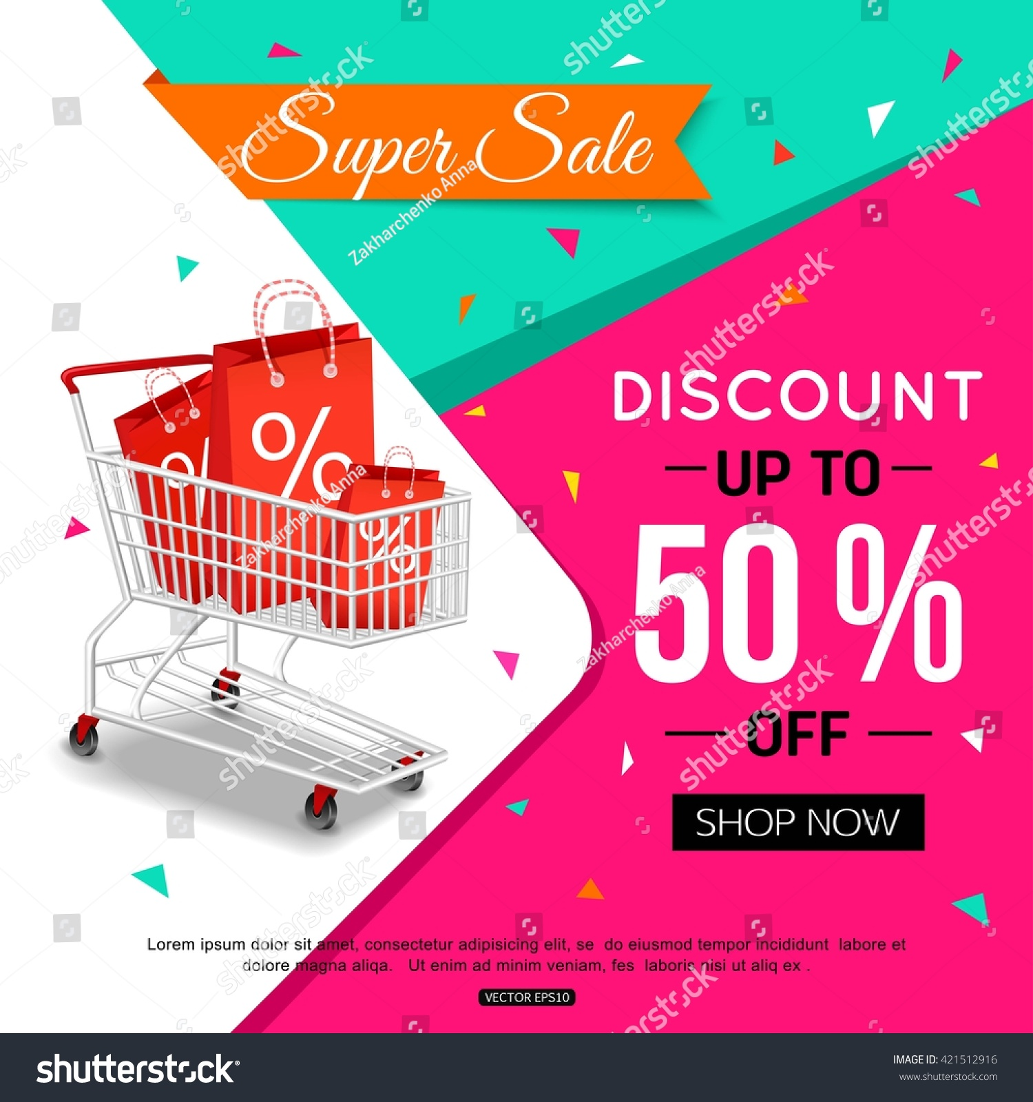 Super sale banner design shop online stock vector for Design on line outlet