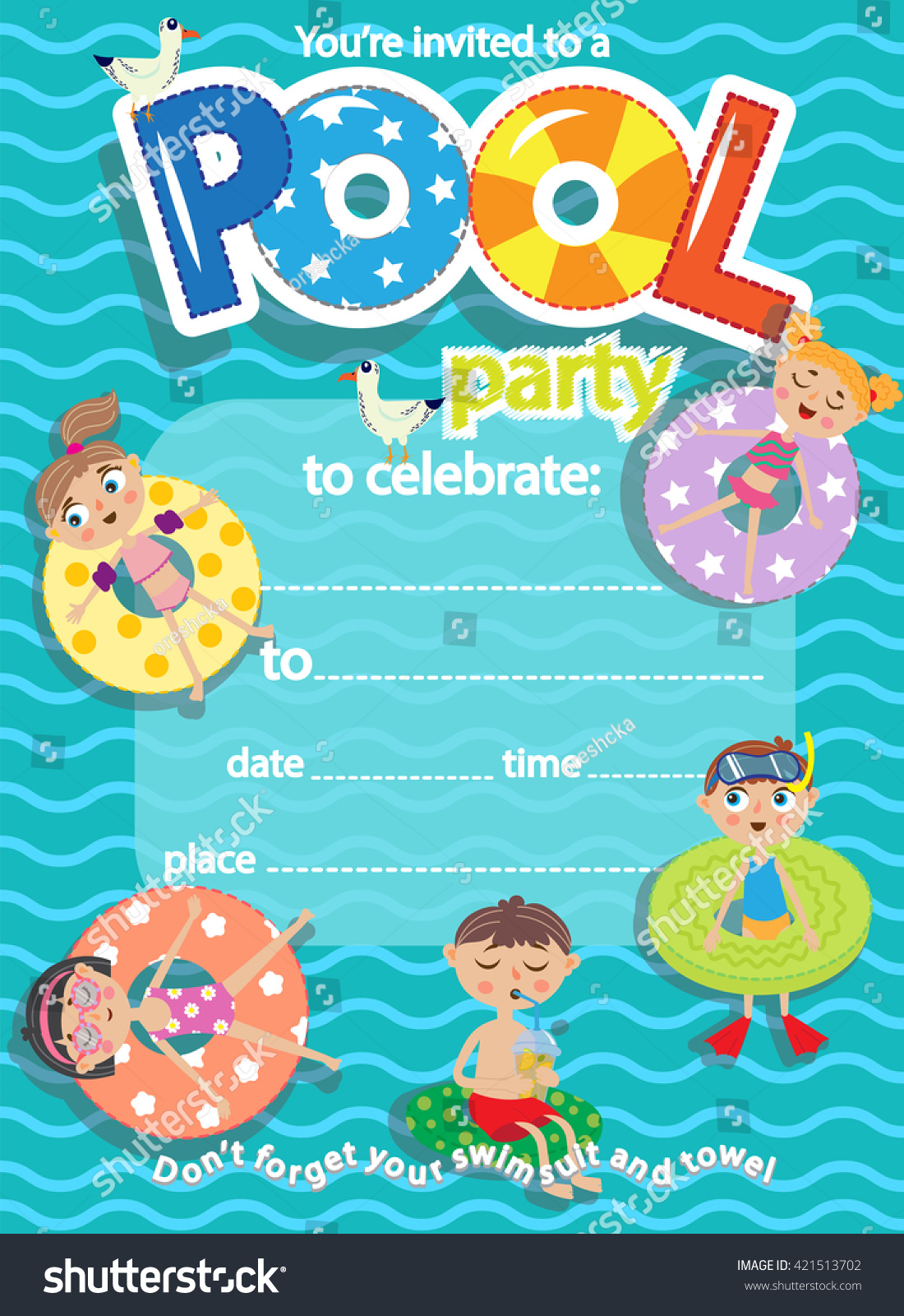 Pool Party Invitation Template Card Kids Stock Vector 421513702 ...