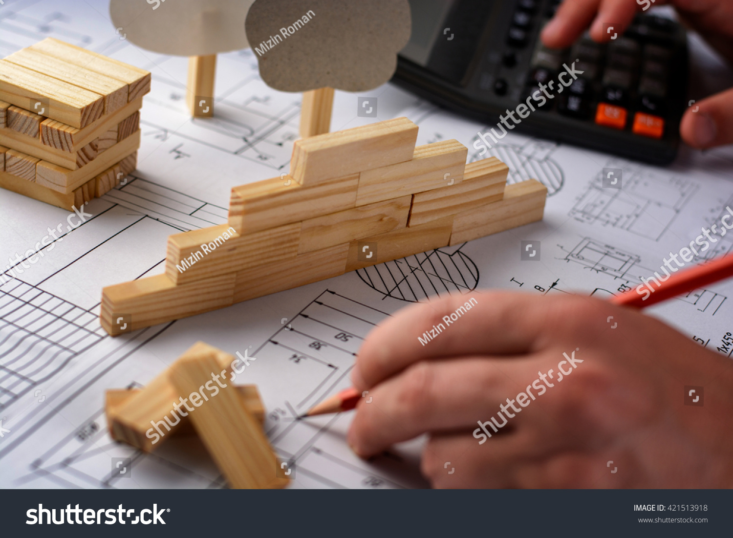 Man Architect Draws Plan Graph Design Stock Photo Edit Now Mechanical Electrical Vignette A Geometric Shapes By Pencil On Large