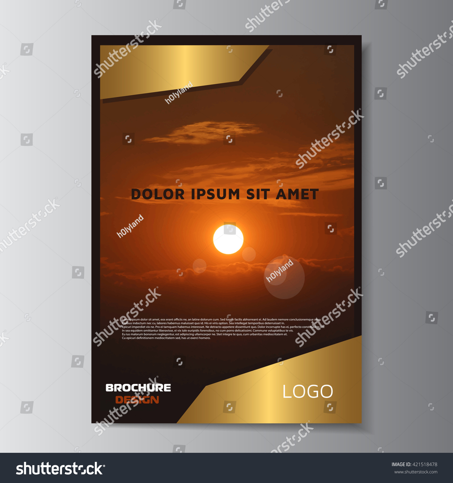 golden brochure design leaflet empty layout printable flyer save to a lightbox