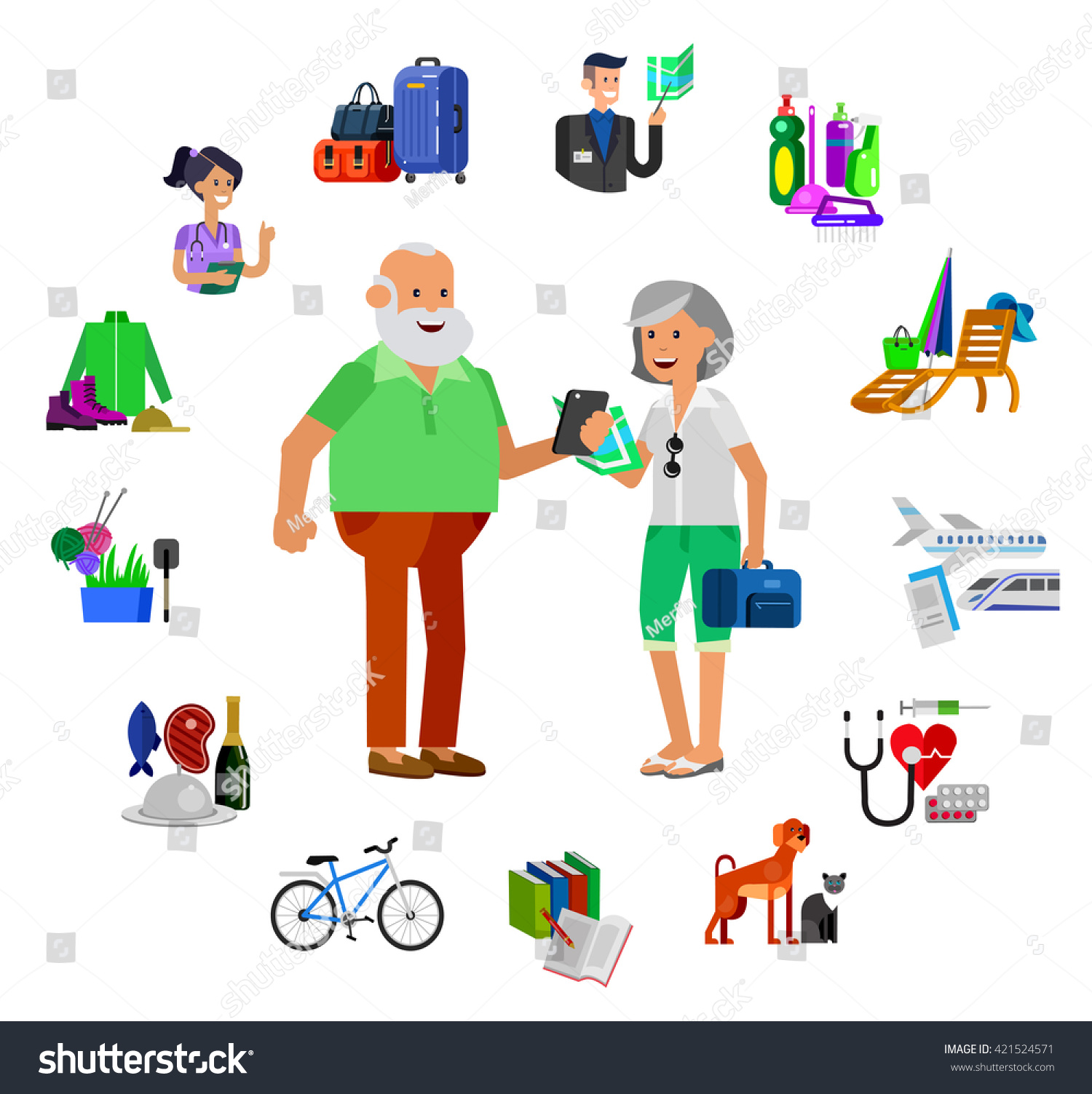 vector detailed character senior old age stock vector 421524571 vector detailed character senior old age man and icons pension hobbies and interests leisure